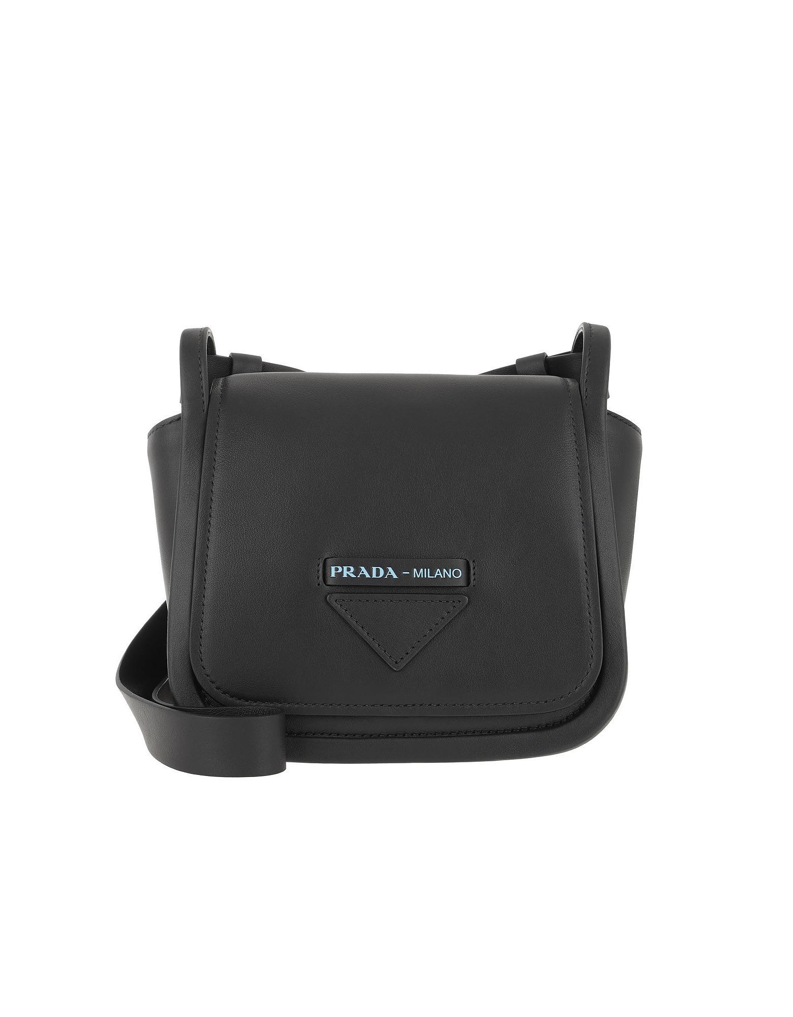 ca9ff54195aa Lyst - Prada Crossbody Bag With Logo Leather Black in Black