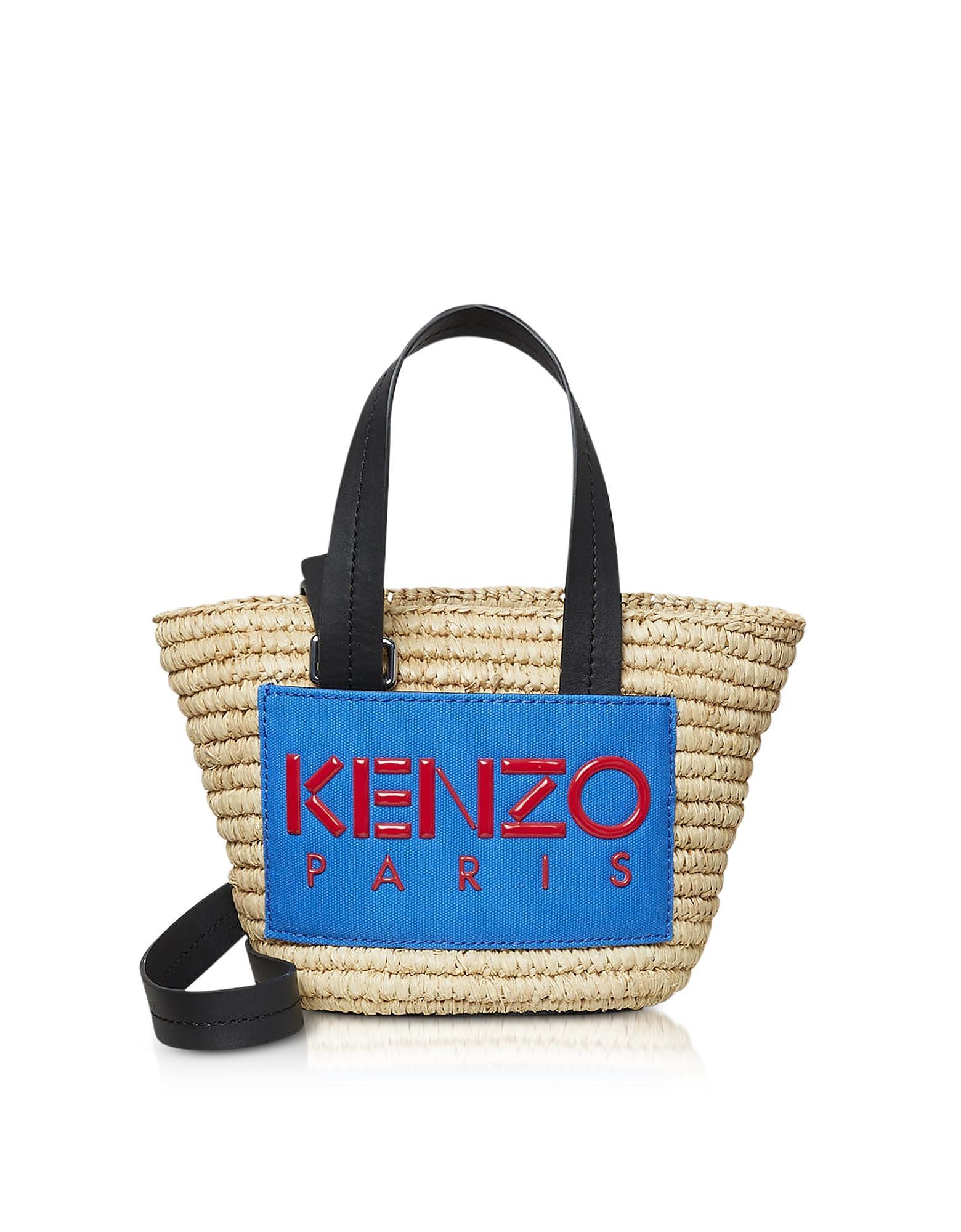f2e86919fc93 KENZO Small Logo Patch Raffia Tote Bag in Natural - Lyst
