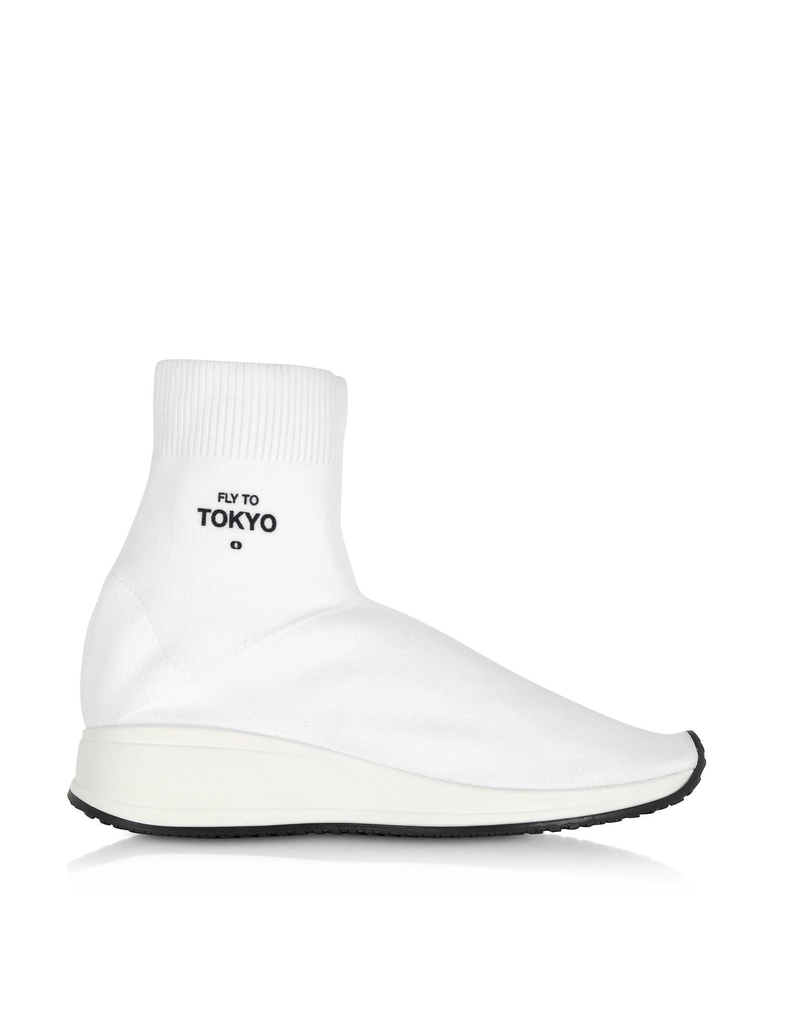 Joshua Sanders White 'Fly To Tokyo' Sock High-Top Sneakers sdIVgn