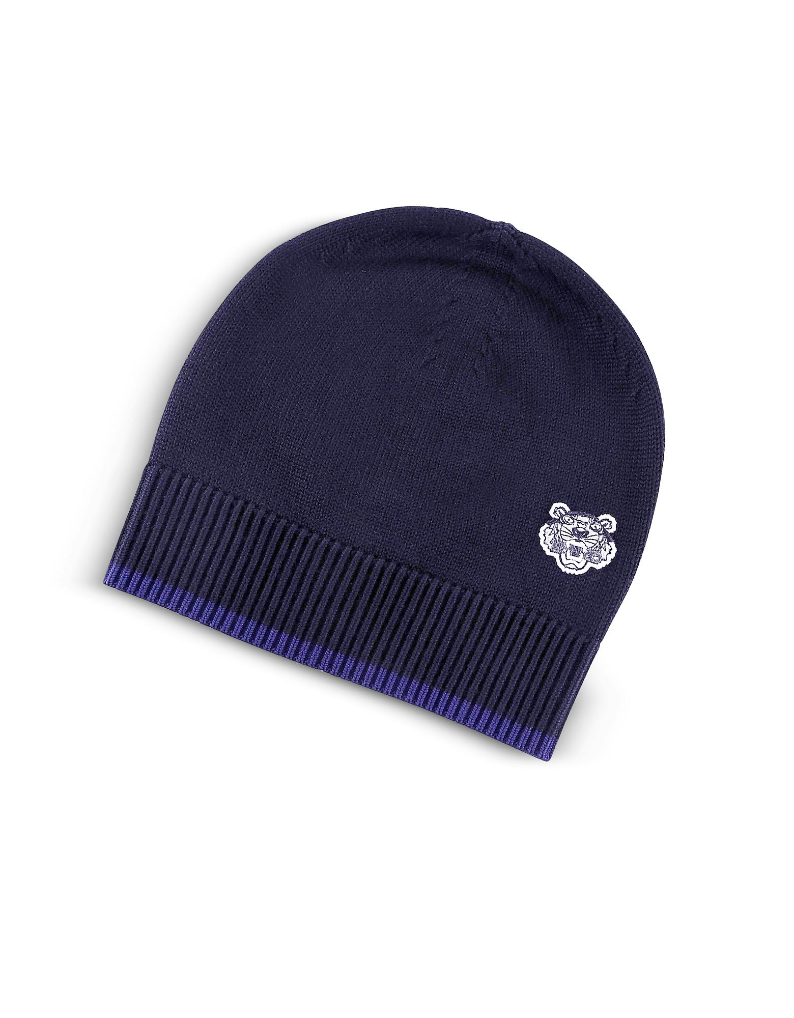 7276ebfc5dd546 KENZO Wool Signature Tiger Crest Beanie in Blue for Men - Lyst