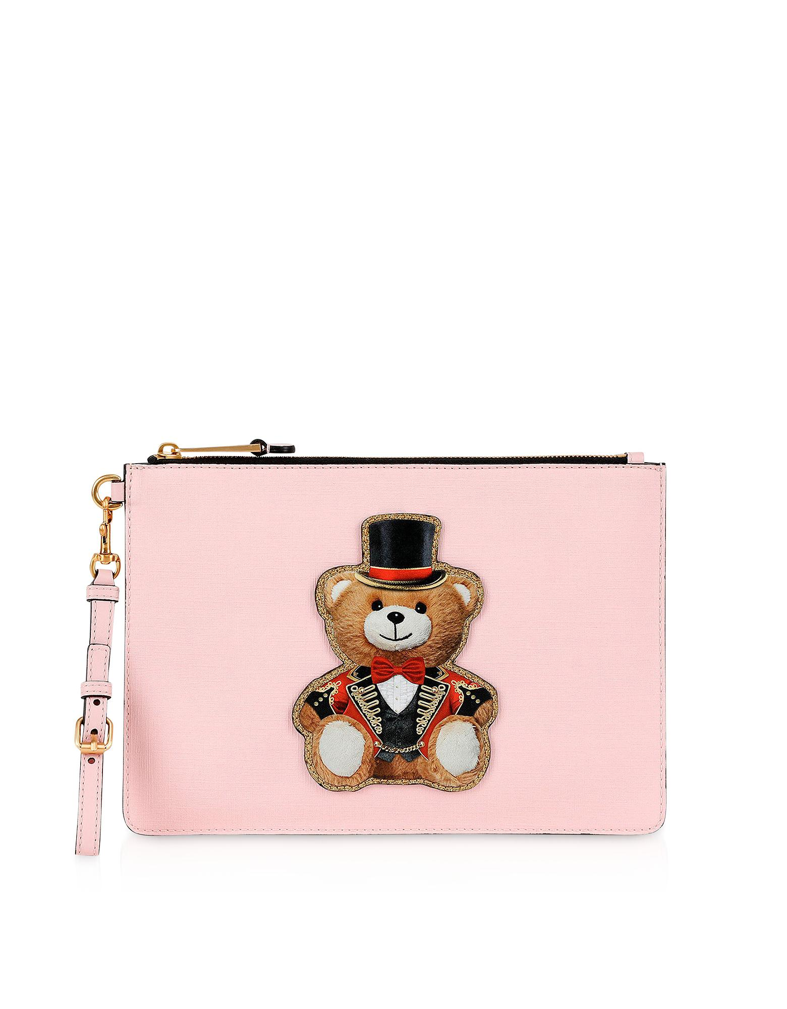 d727b74c4ad Lyst - Moschino Teddy Circus Leather Clutch in Pink