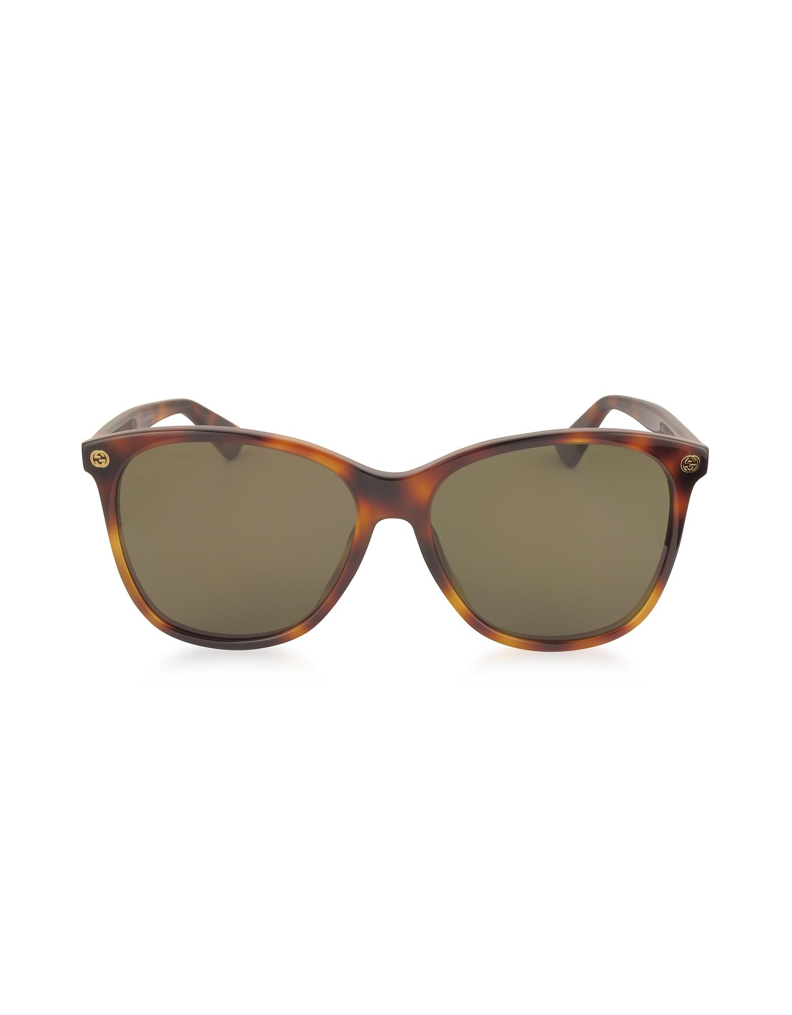 ae580071e5a Lyst - Gucci GG0024S Acetate Round Oversized Women s Sunglasses in Brown