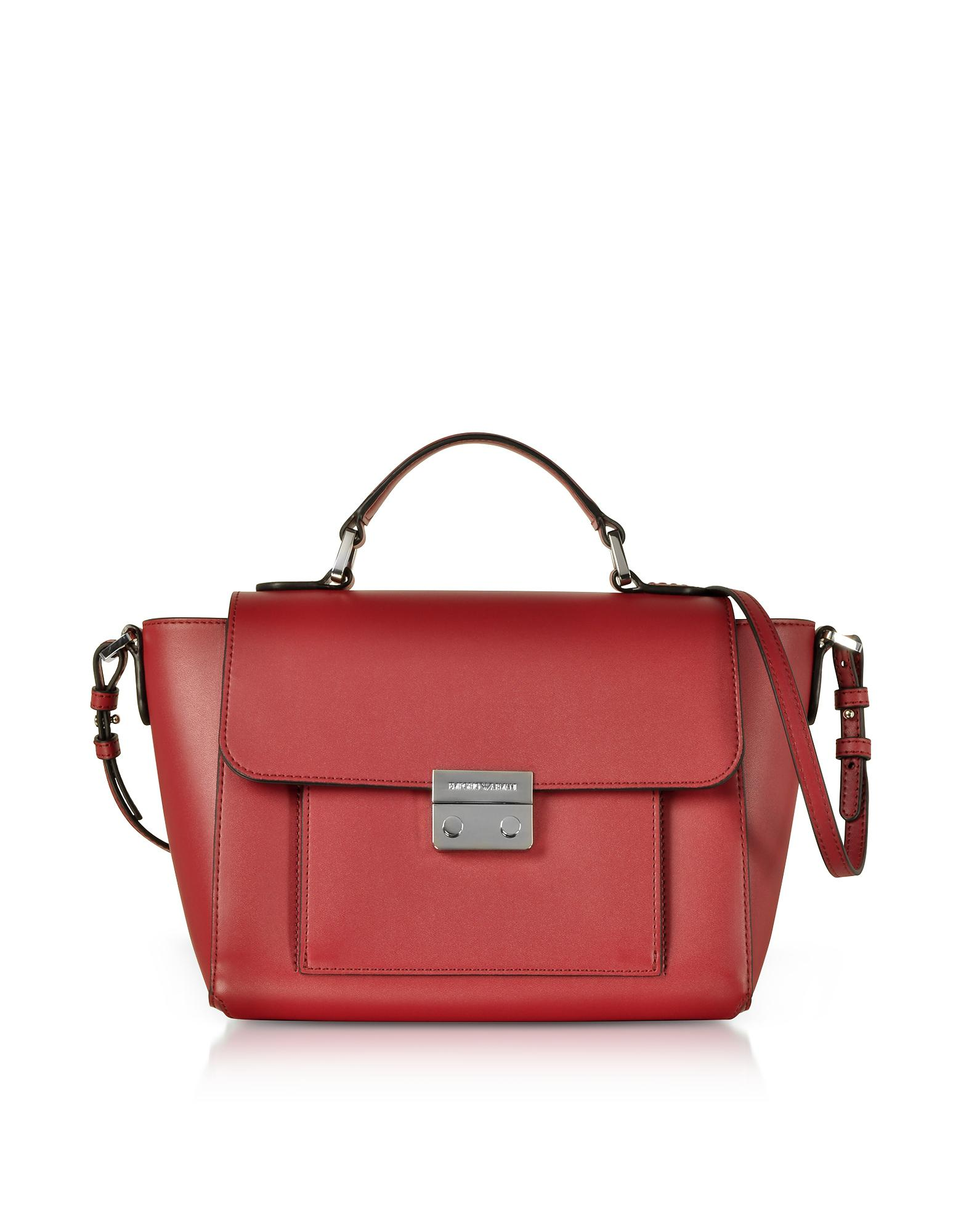 2ea467f718f Emporio Armani Smooth Leather Top-handle Shoulder Bag in Red - Lyst