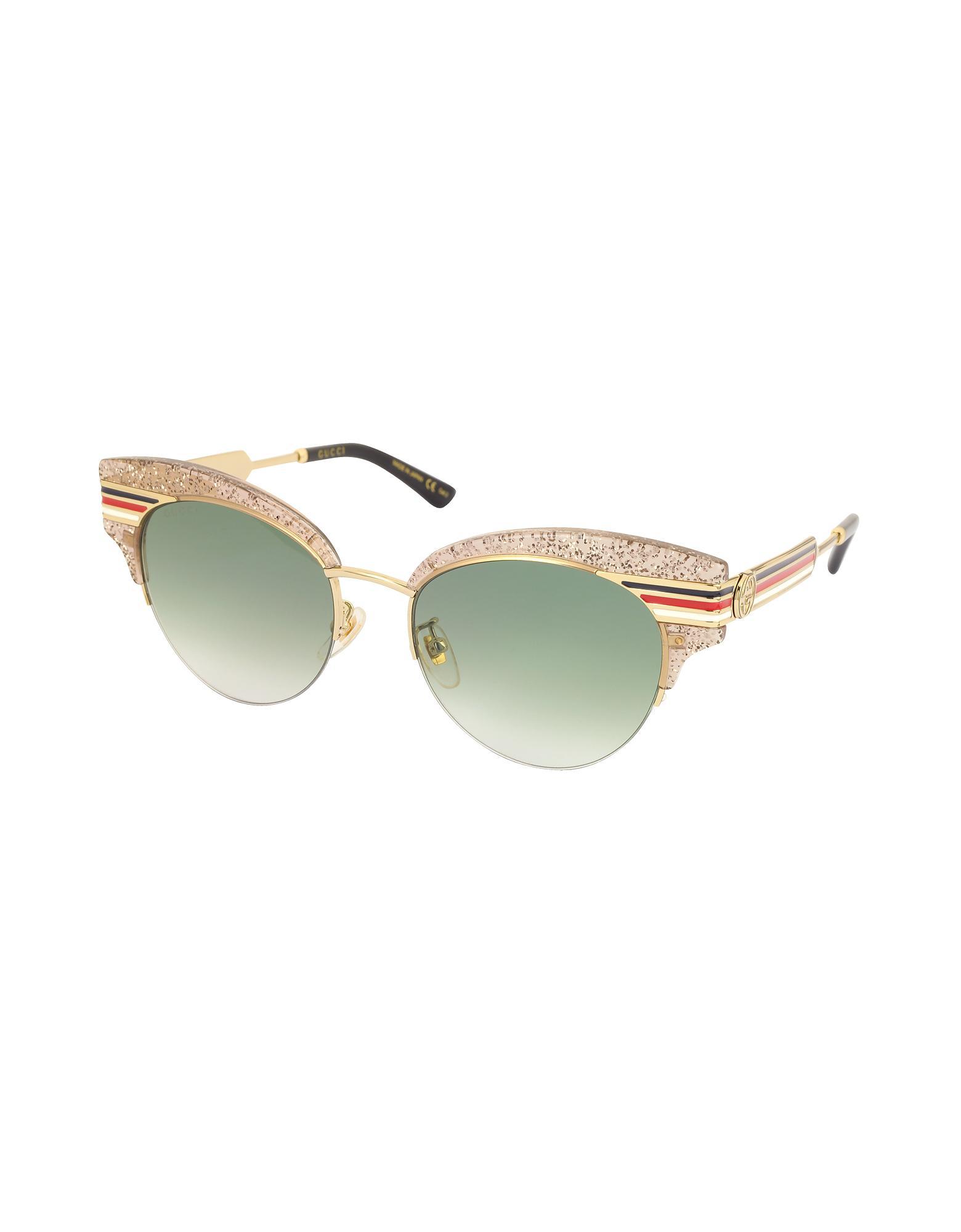 8fed06a1ad4 Lyst - Gucci GG0283S Cat Eye Beige Glitter Acetate Sunglasses W ...