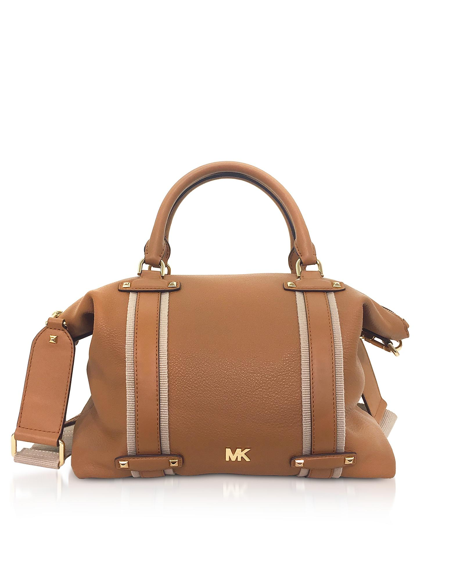 0e79b486b5fa2 Michael Kors Pebbled Leather Griffin Large Satchel in Brown - Lyst