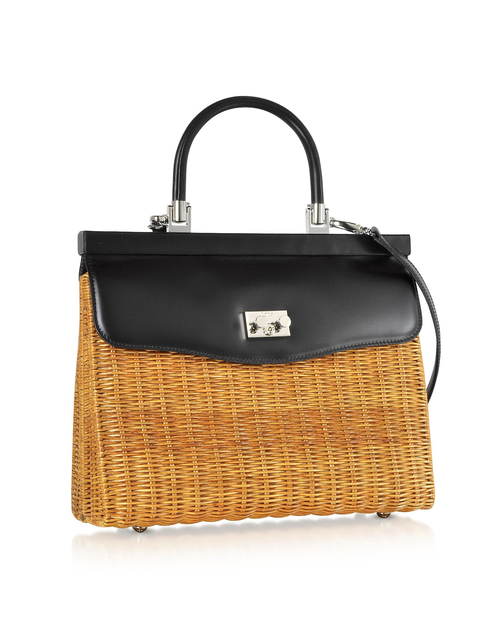 2a0264d8c714b Rodo Large Leather And Wicker Midollina Satchel Bag in Black - Lyst