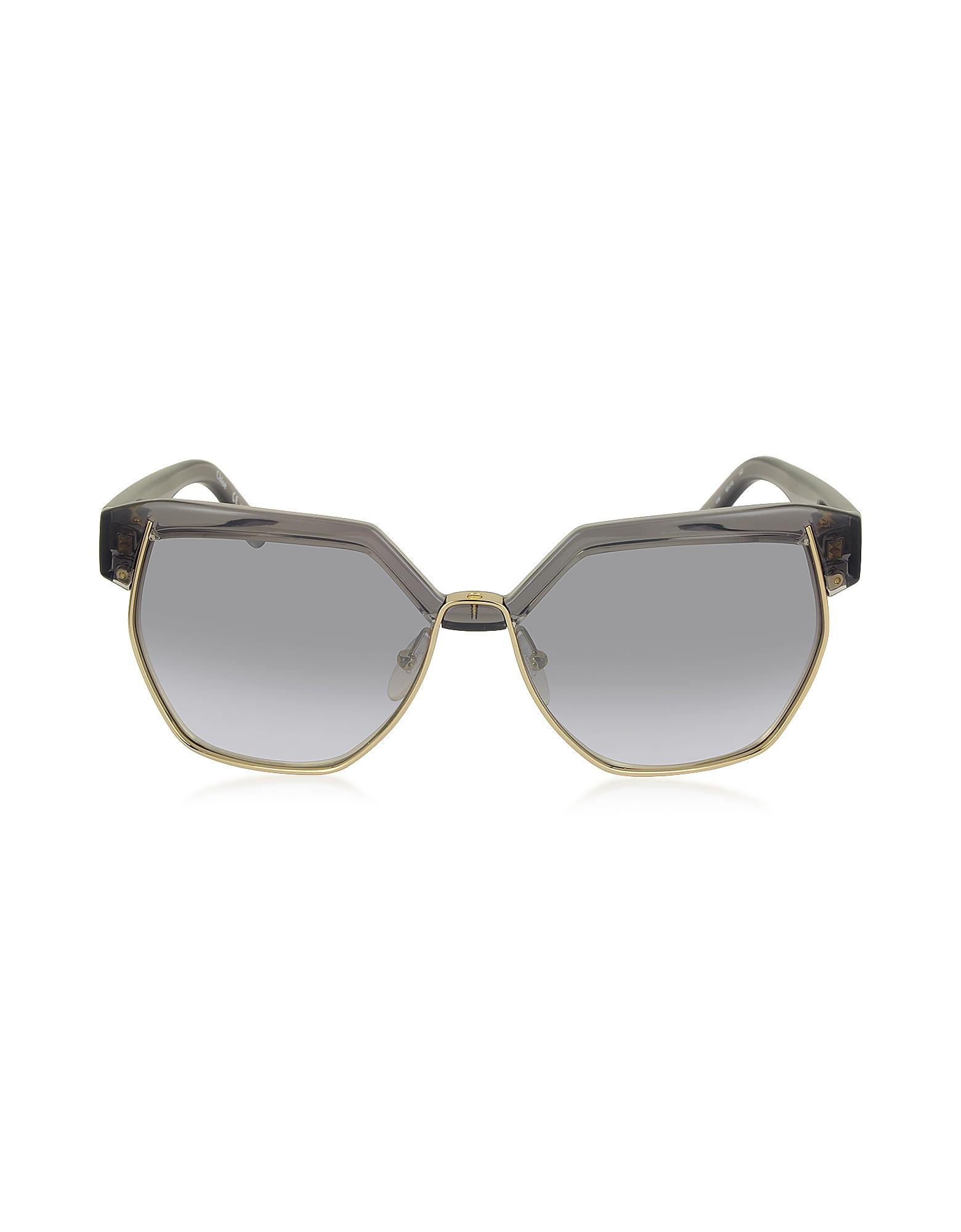 a882d6dca659d Lyst - Chloé Dafne Ce 665s 036 Gray Acetate And Gold Metal Geometric ...