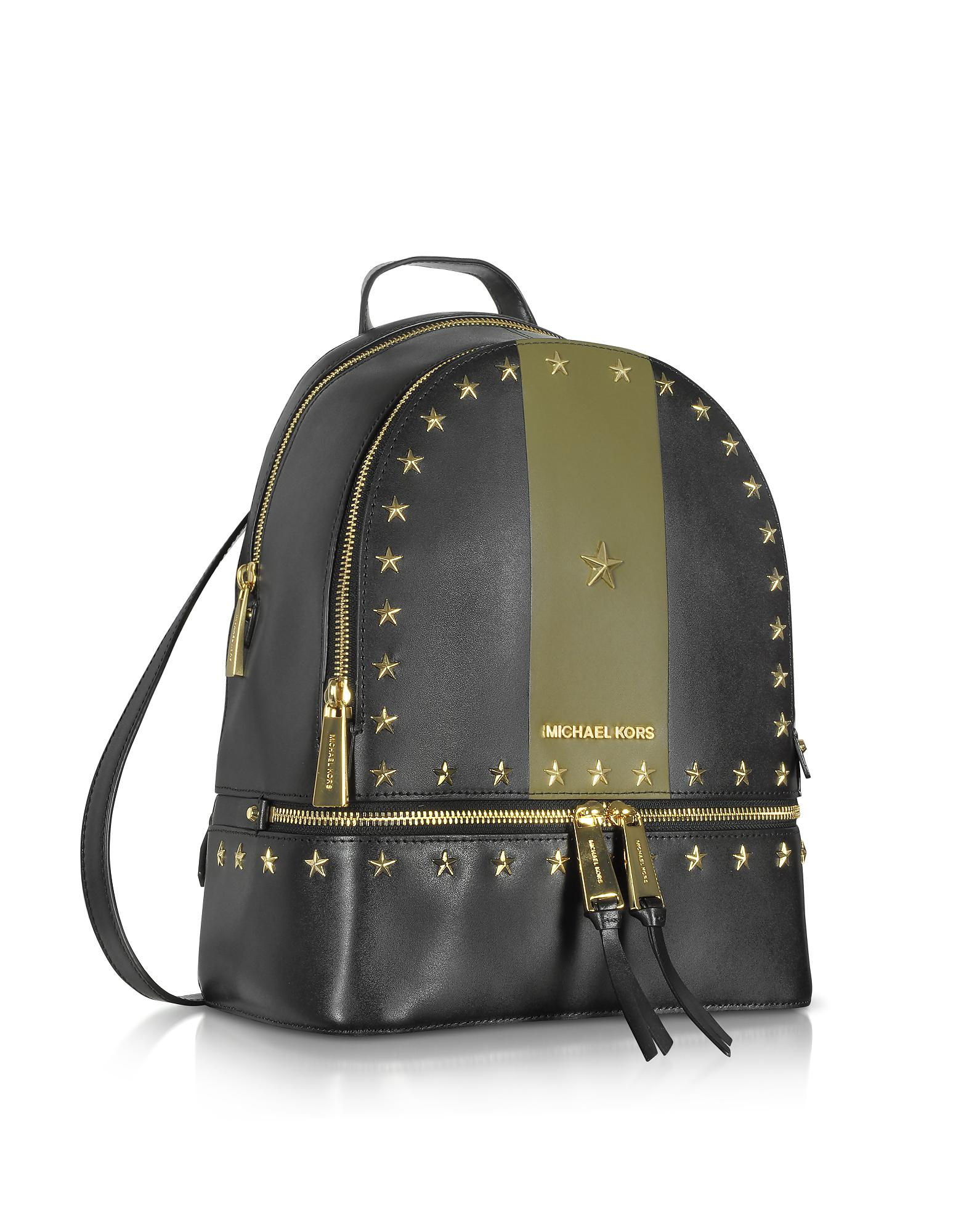 4ee12b29d53f Lyst - Michael Kors Rhea Zip Medium Black And Olive Leather Backpack ...