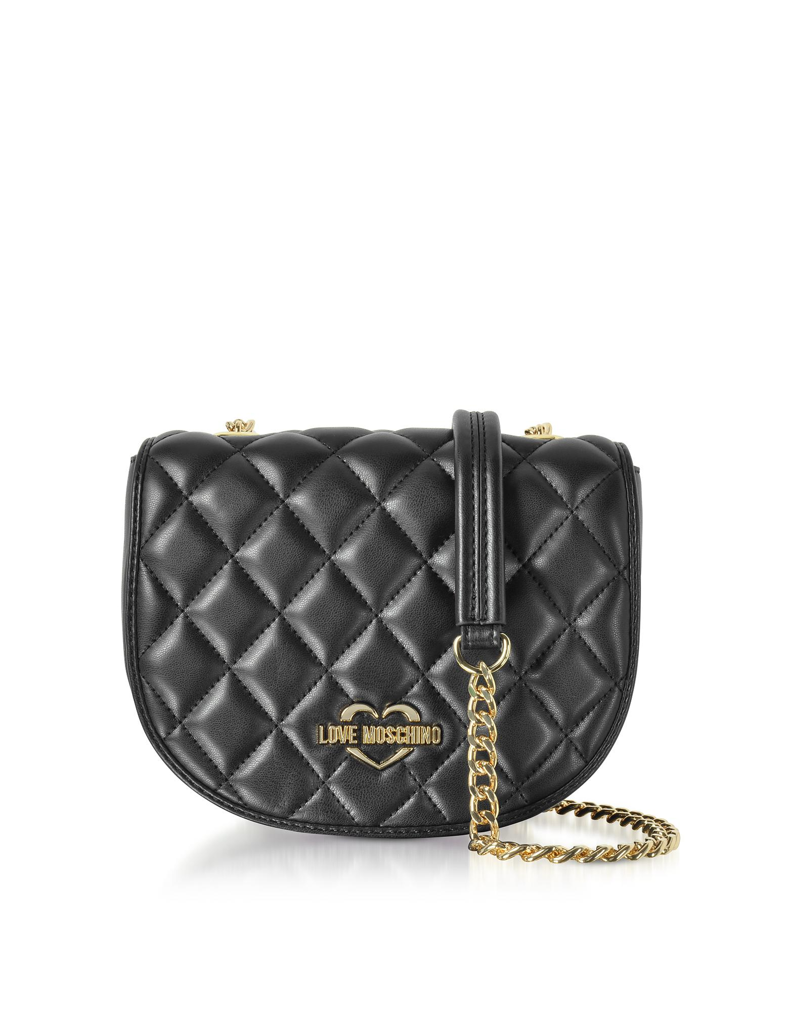 89ff4ec0326 Love Moschino Black Superquilted Eco-leather Small Crossbody Bag in ...