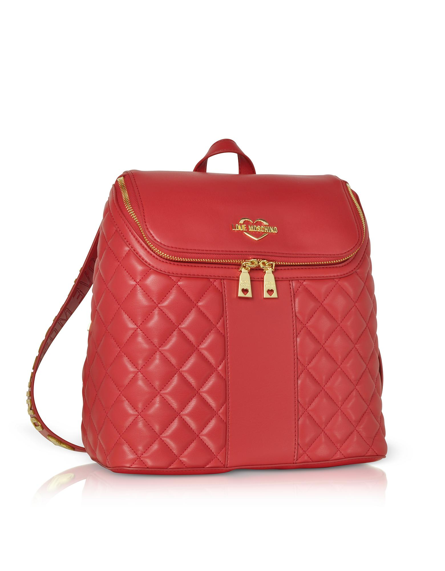 b9ee76158bcd0 Lyst - Love Moschino Quilted Eco Leather Backpack in Red