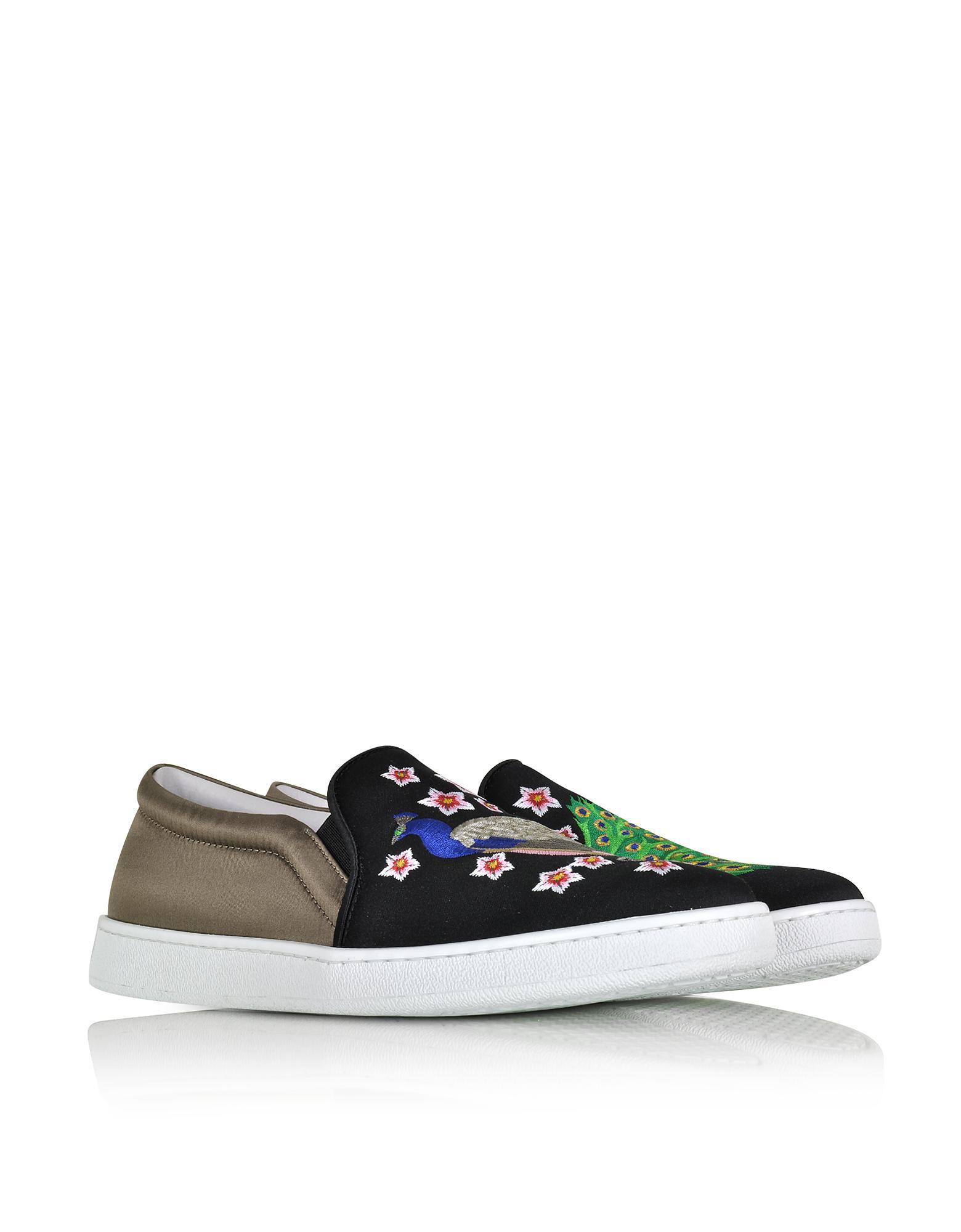 JOSHUA SANDERS Designer Shoes, Dragon Multicolor Fabric Slip-on Sneaker
