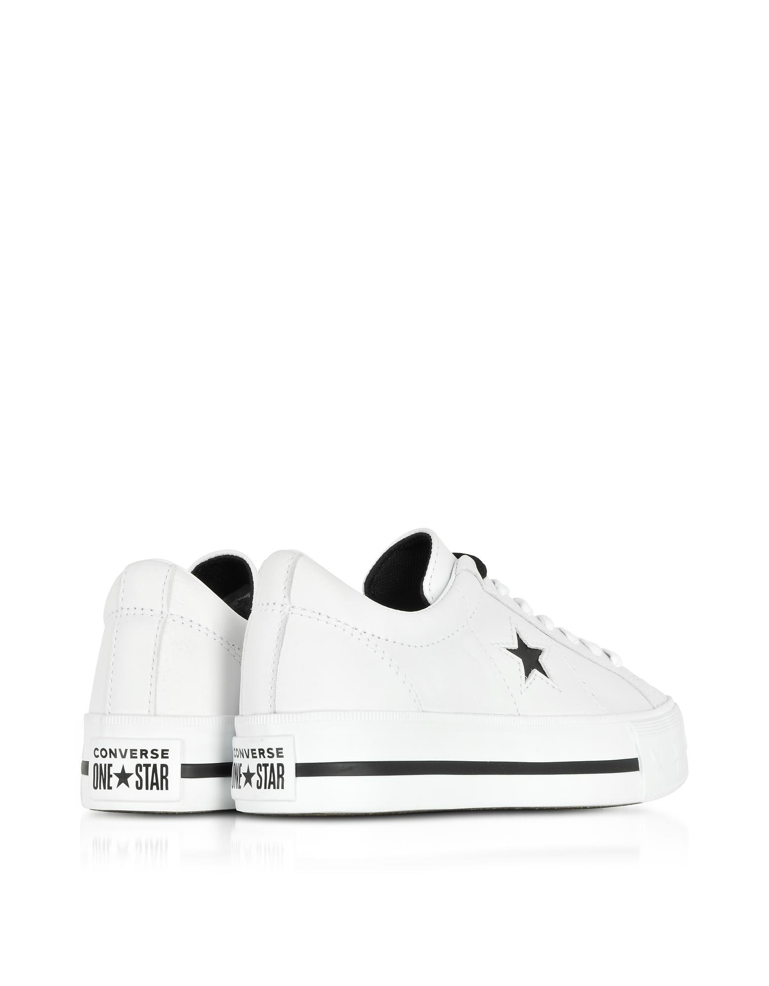 1b257cd74e43 Lyst - Converse One Star Platform Ox White Leather Low Top Sneakers ...