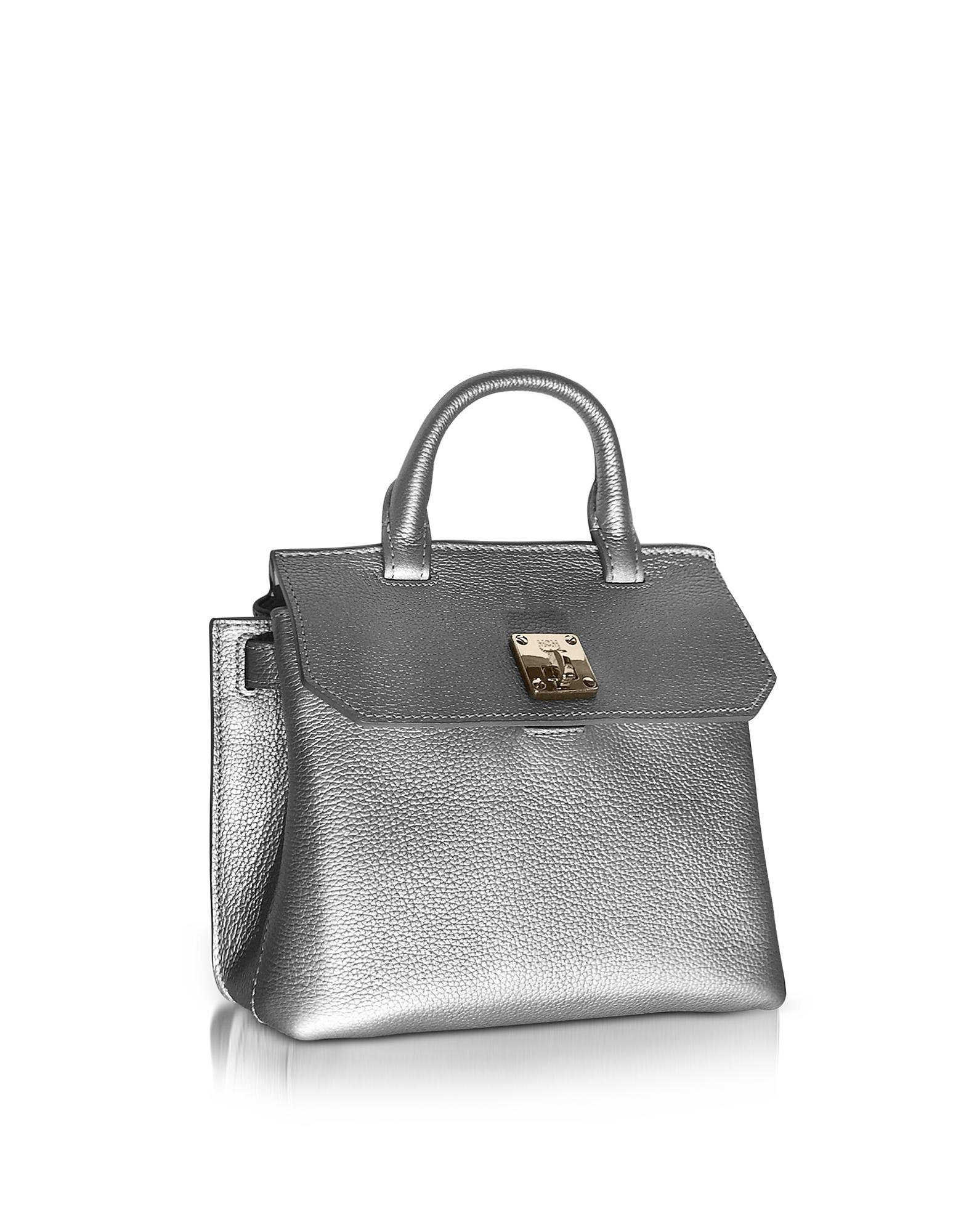 9a54bceeee89 Lyst - MCM Milla Spike Silver Park Avenue Leather Small Crossbody in ...