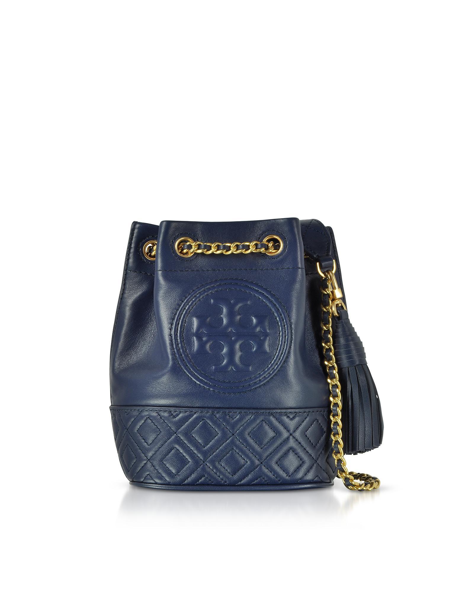 6cae134b1cf7 Tory Burch Fleming Mini Bucket Bag in Blue - Lyst