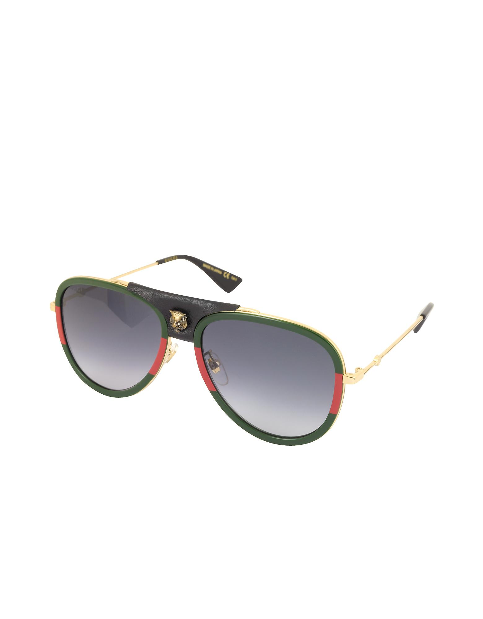 Lyst - Gucci GG0062S Aviator Gold Metal And Black Leather Sunglasses in  Metallic for Men 7b7d674a42