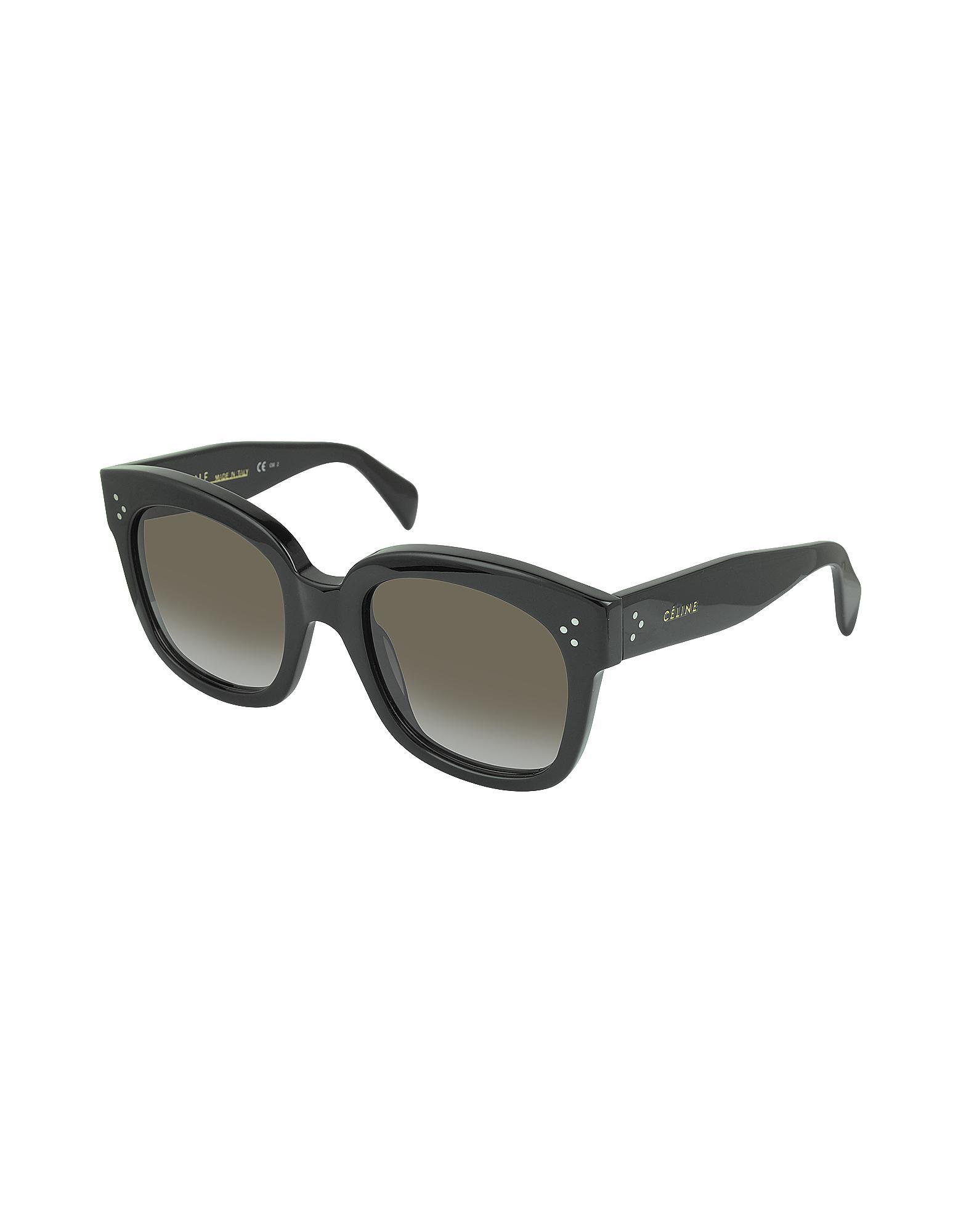 ef03d4997345 Lyst - Céline Cl41805 s New Audrey Black Acetate Sunglasses in Black
