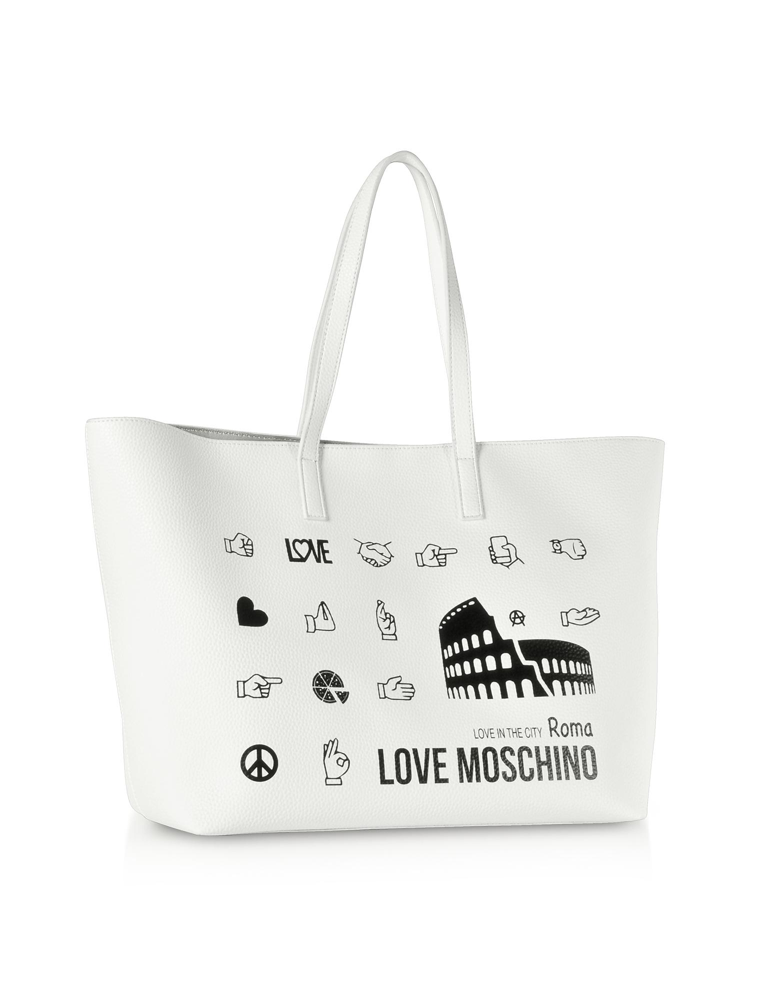Love Moschino Printed City Lovers Tote Bag in White - Lyst 175699d0fe2e8