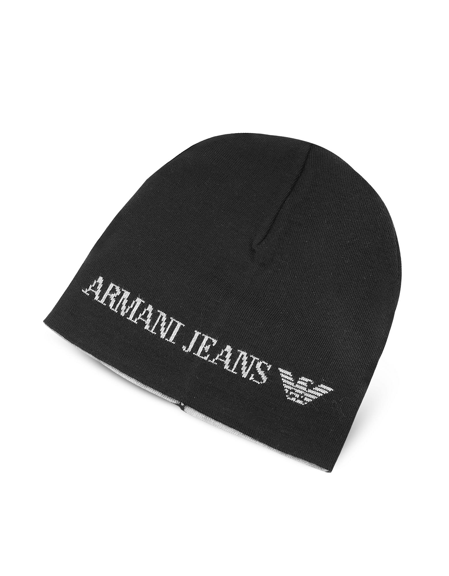 2165f315291 Lyst - Armani Jeans Solid Wool Blend Men s Beanie Hat in Black for Men