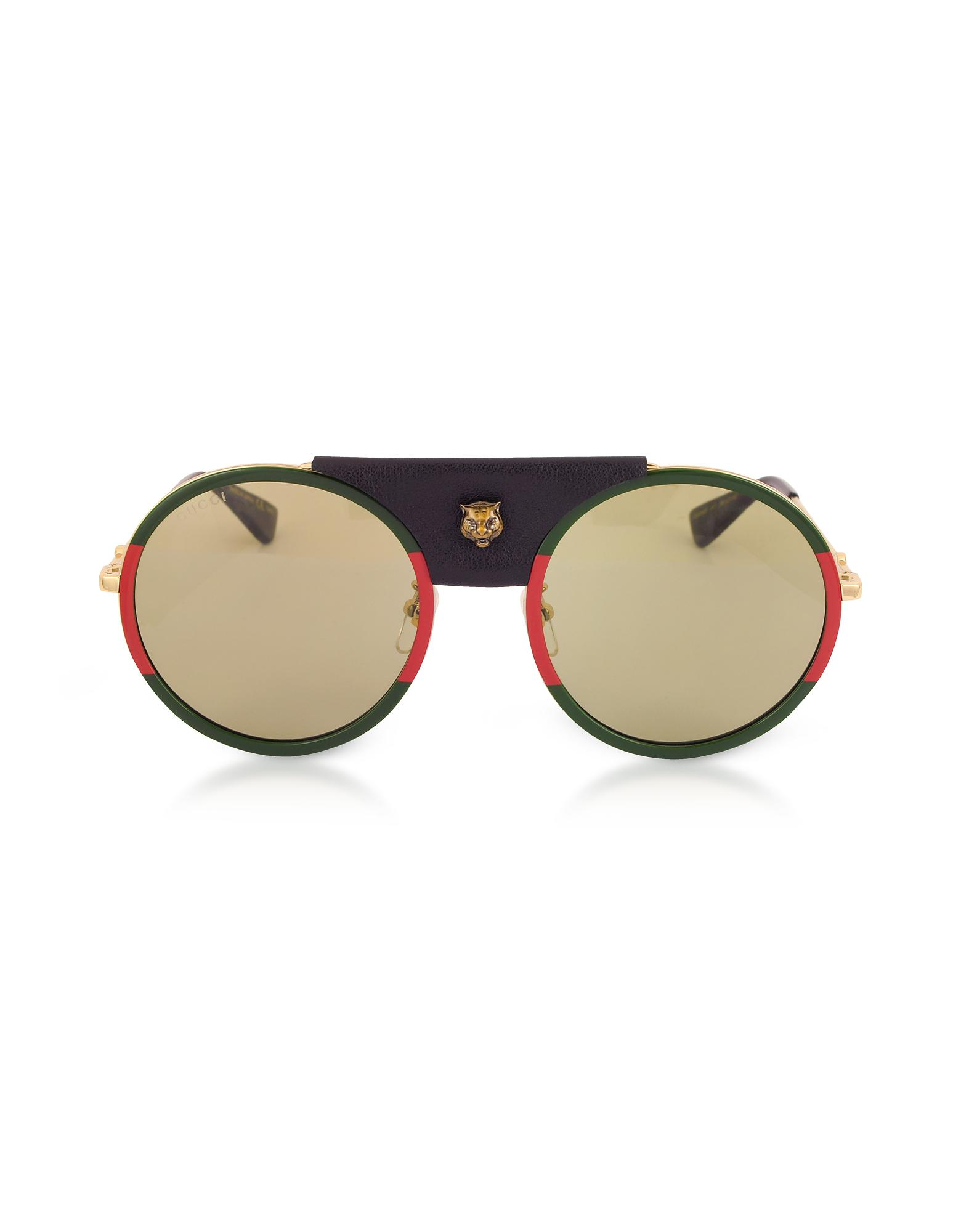 2626dddd029 Lyst gucci round frame gold metal and black leather jpg 1560x2000 Gucci  sunglasses gold with diamonds