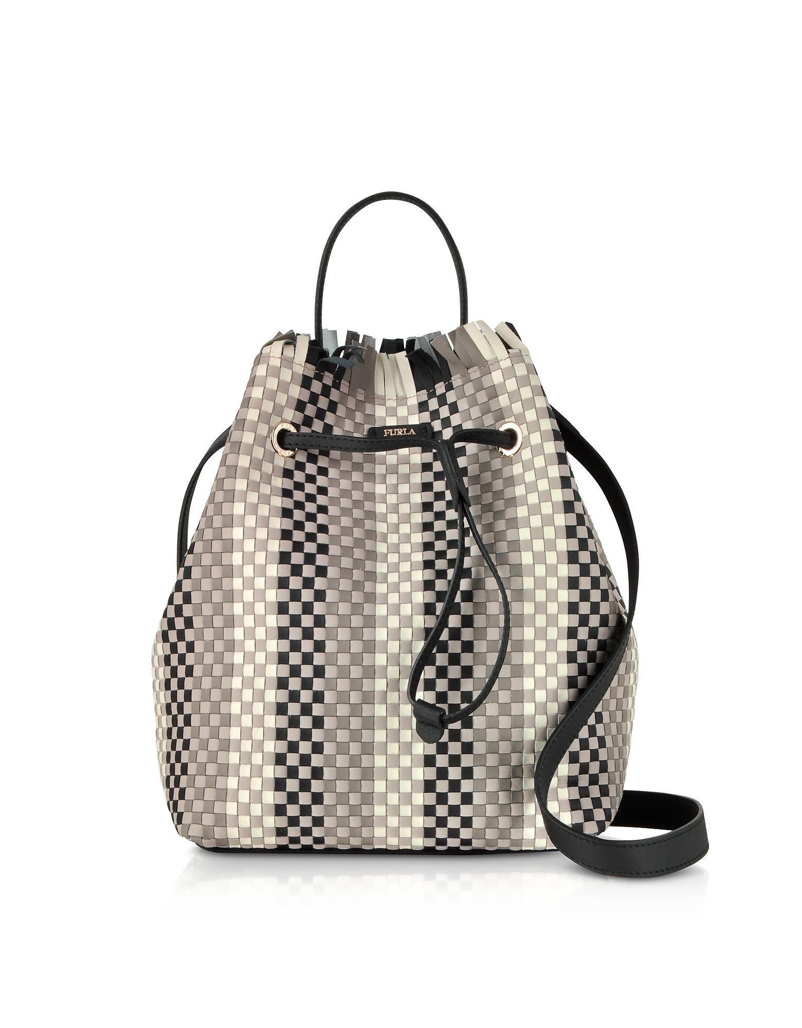 Stacy Casanova Small Drawstring Bag in Onyx and Petalo Calfskin Furla 0RoRhAp