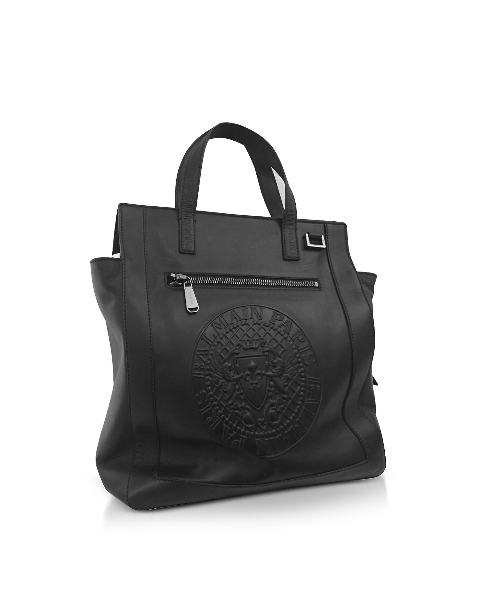 abe10768098d Lyst - Balmain Black Smooth Leather Men s Square Tote Bag W embossed ...
