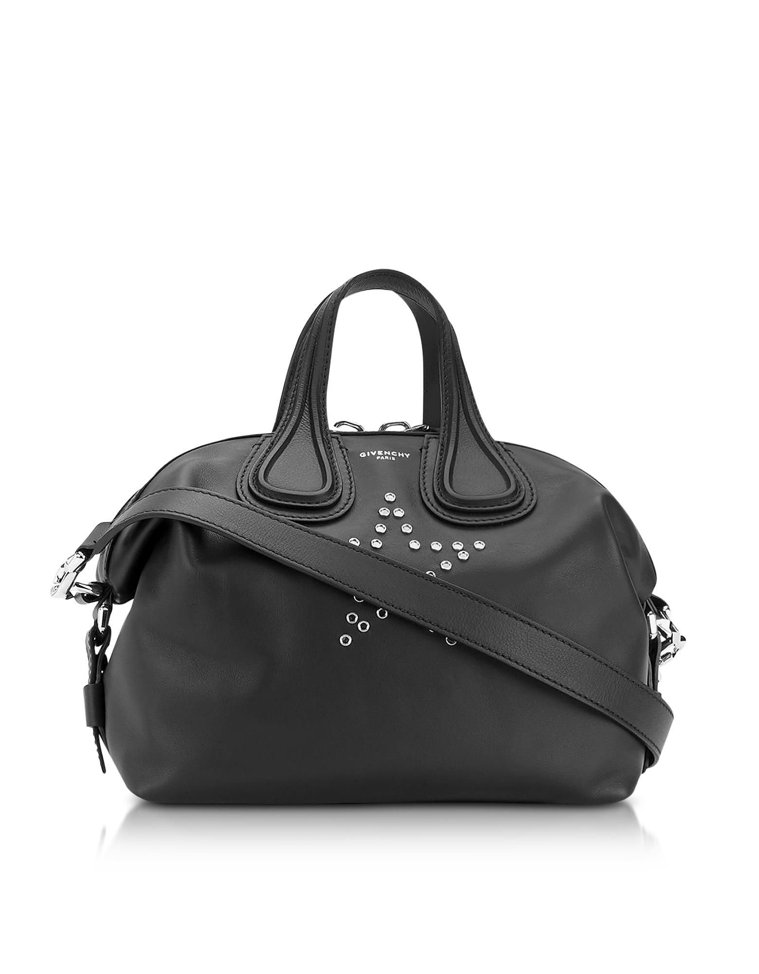 29063296aee1 Lyst - Givenchy Nightgale W stars Black Leather Satchel .