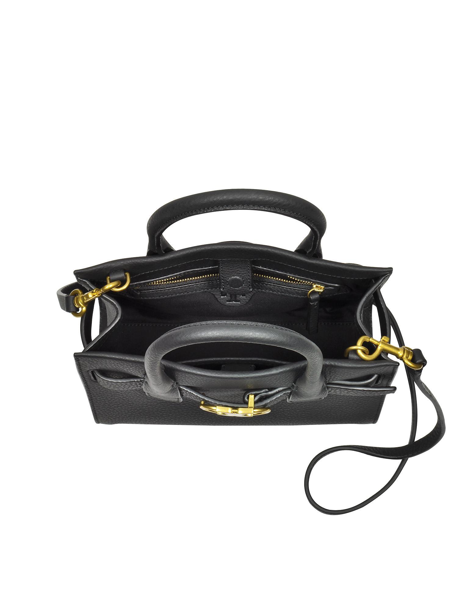 efeca677df8d Tory Burch Gemini Link Black Leather Small Tote Bag in Black - Lyst