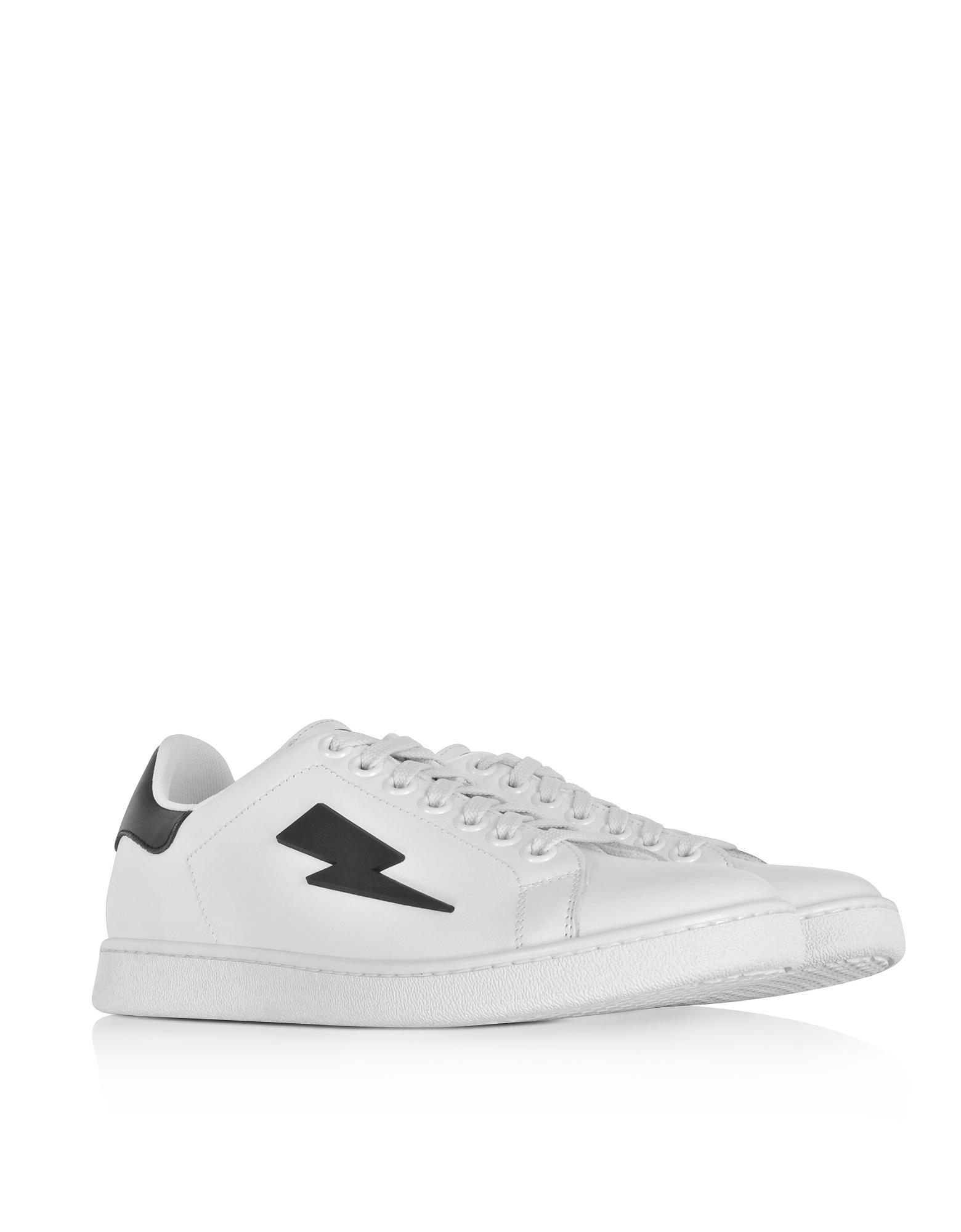 White Thunderbolt Tennis Sneakers Neil Barrett CWp6bU