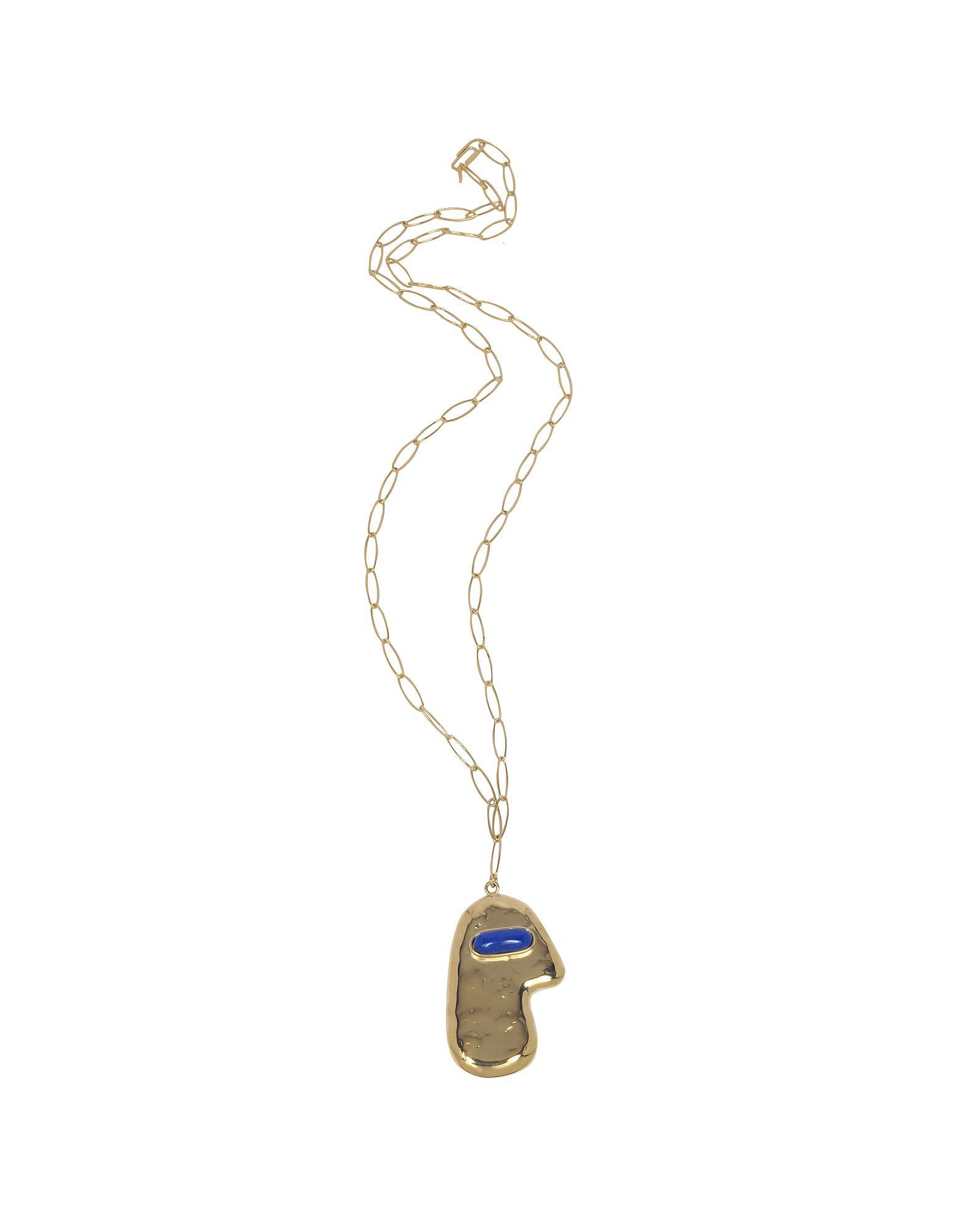 Aurélie Bidermann Peggy lapis & gold-plated necklace a9dDZGNok