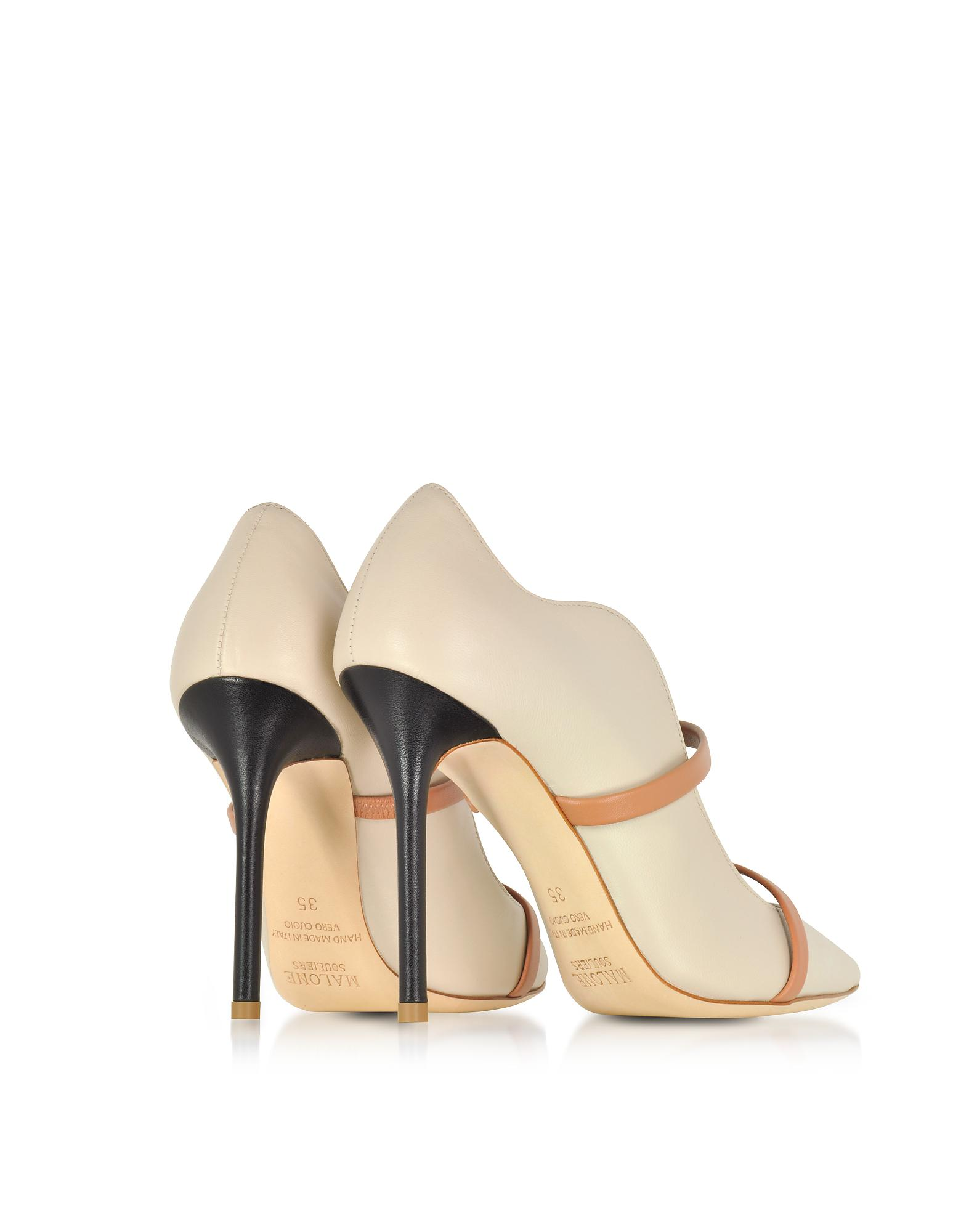 d6d66c888a Malone Souliers Maureen Ice Nude And Black Nappa Leather High Heel ...