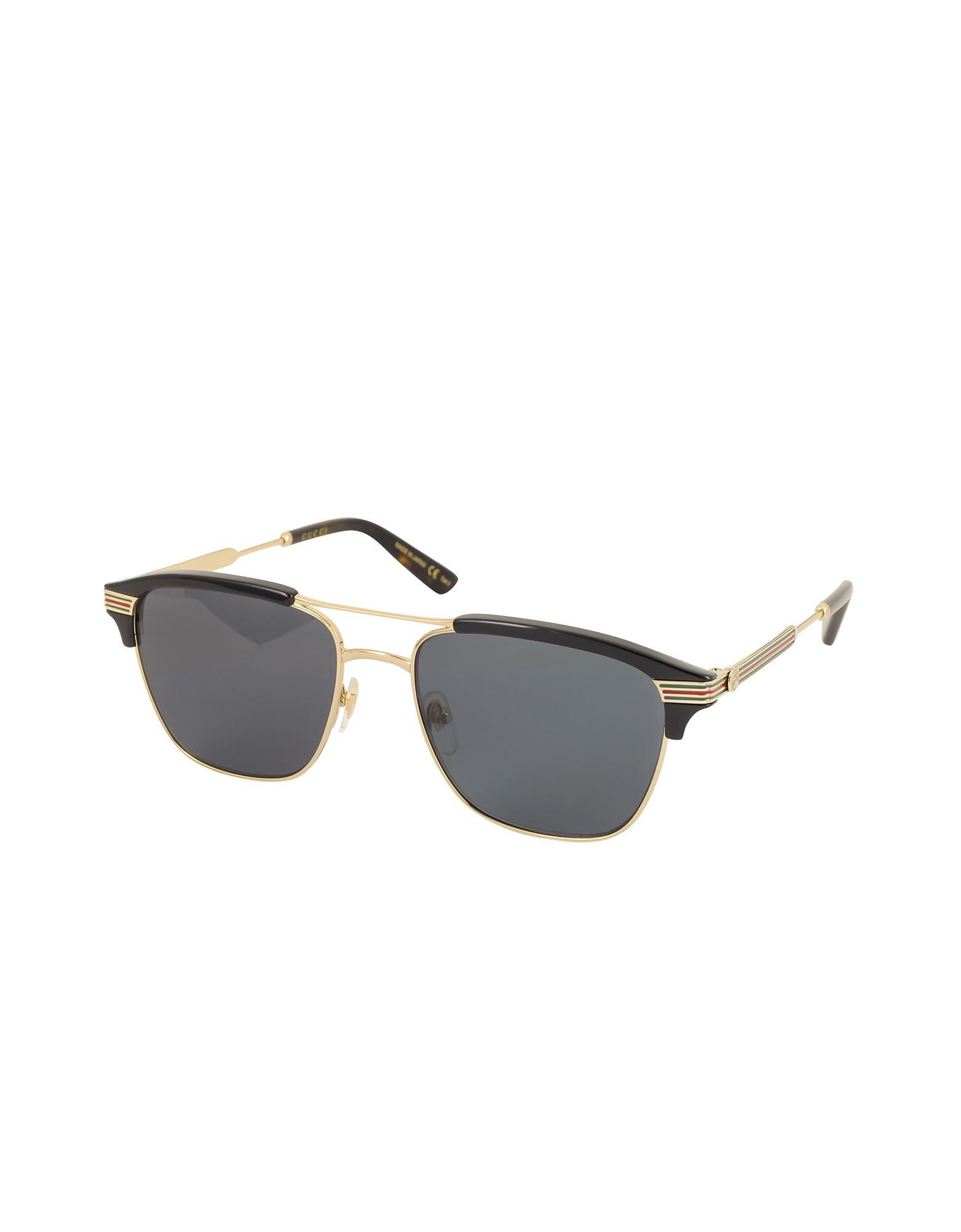98de099c3c1 Lyst - Gucci GG0241S 002 Square-frame Metal Sunglasses in Black for Men