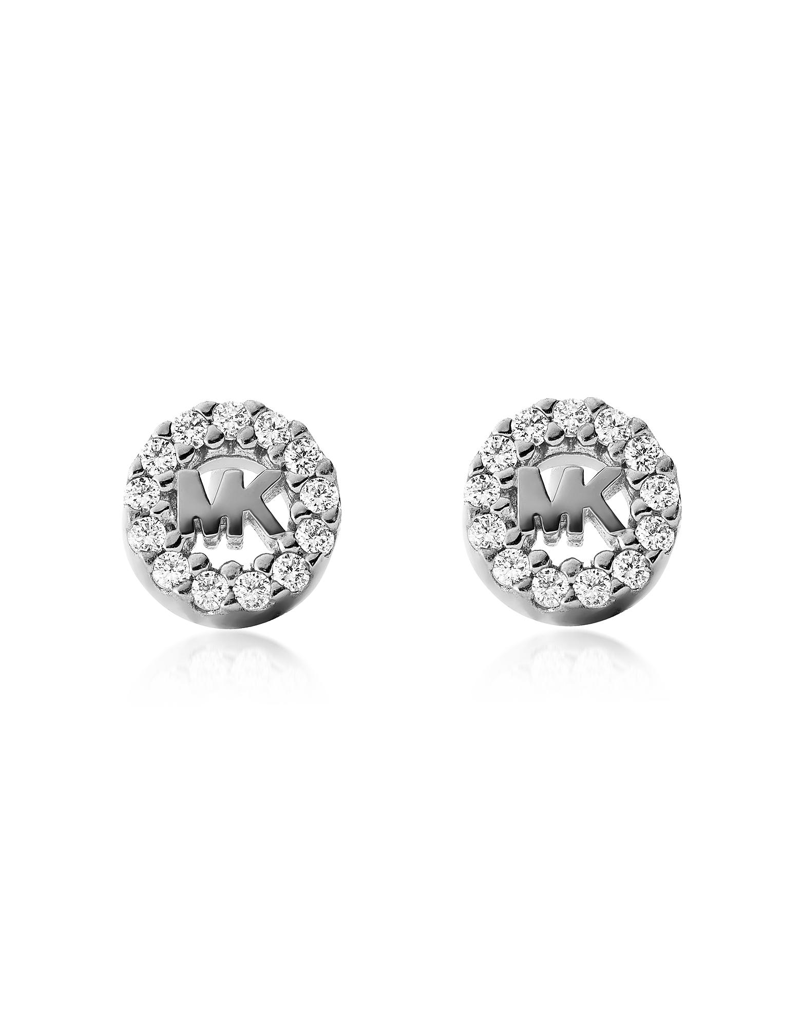 aa4cae8d9 Michael Kors Heritage Silver Tone Pavé Studs in Metallic - Save 4 ...