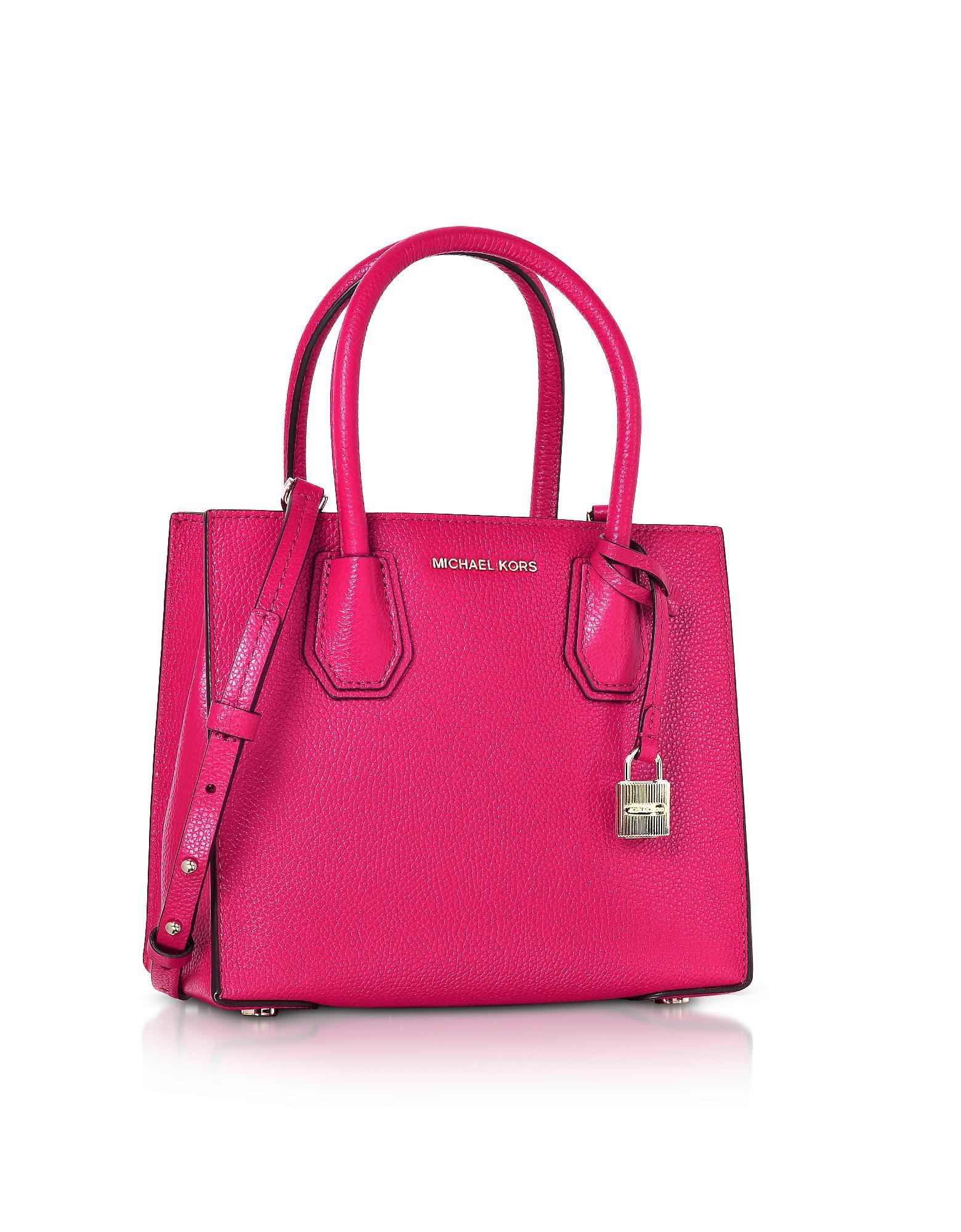 Michael Kors Mercer Leather Crossbody Bag In Pink Lyst Satchel Authentic