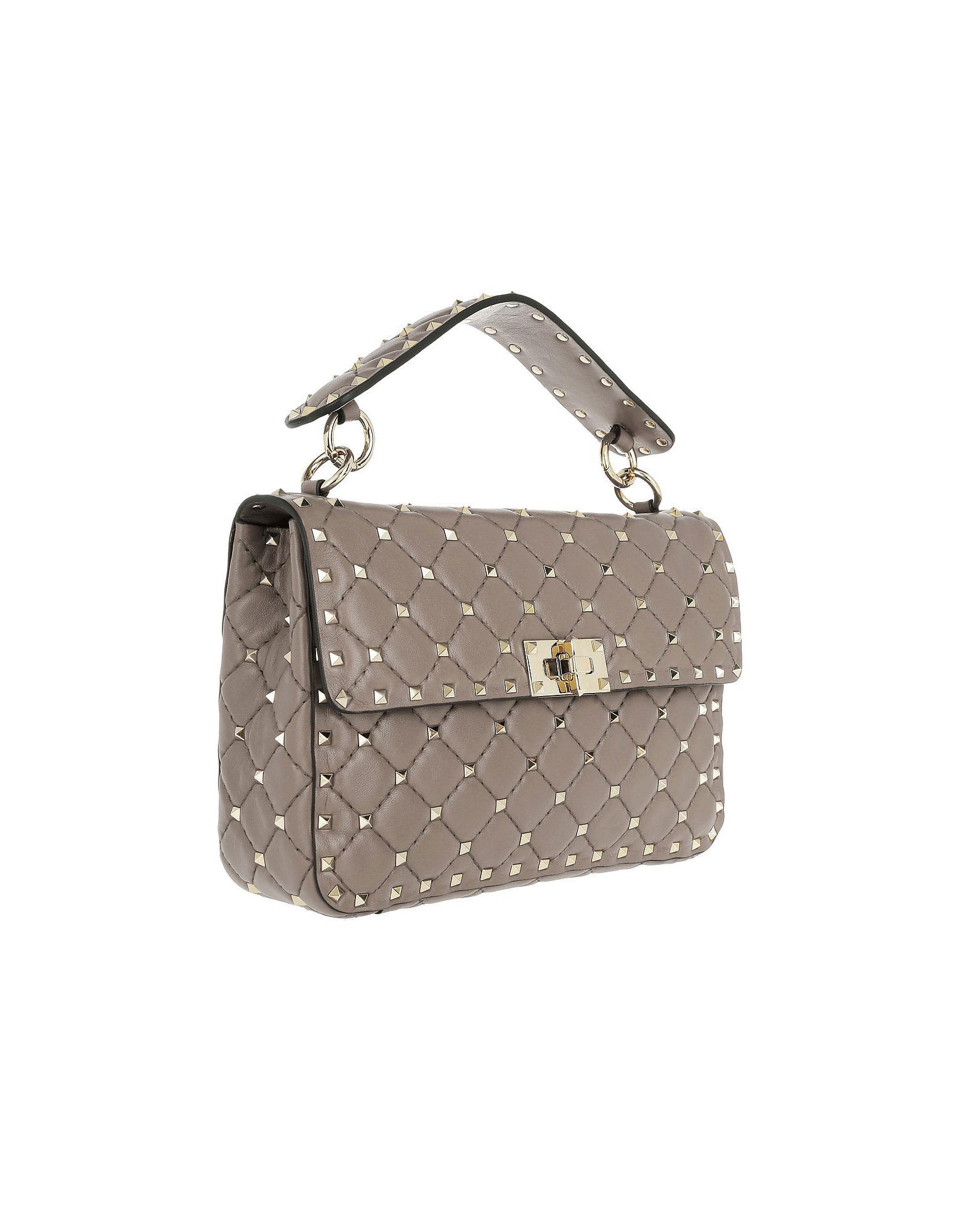 c79c0db26be1 Lyst - Valentino Rockstud Spike Crossbody Bag Medium Poudre in Natural