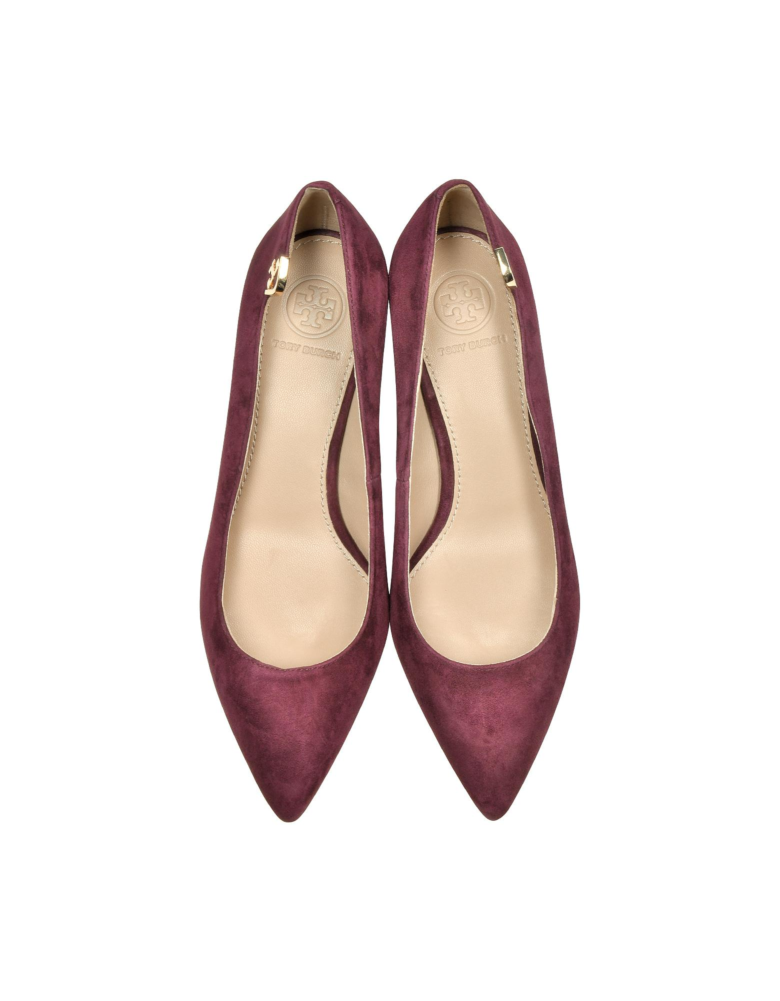 28a542f952d Tory Burch Elizabeth Burgundy Suede Mi-heel Pumps in Purple - Lyst