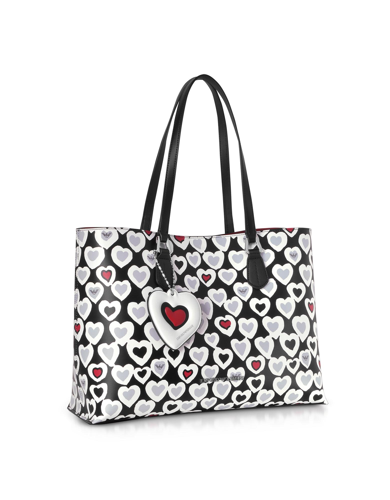 8f93017247f1 Lyst - Emporio Armani Heart Print Tote Bag in Black