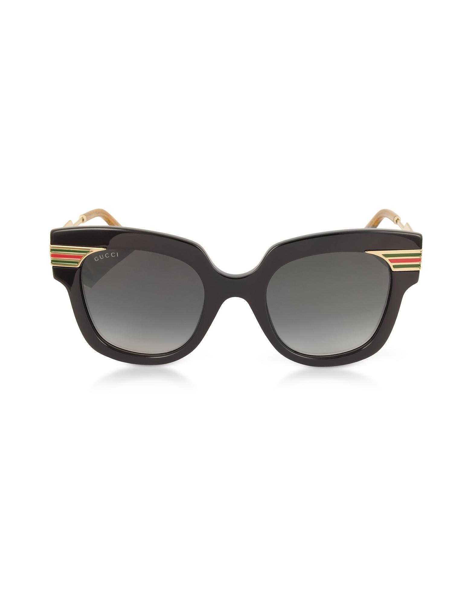 e5e11ee81bb Gucci - GG0281S Square-frame Black Acetate Sunglasses W sylvie Web Temples  - Lyst. View fullscreen