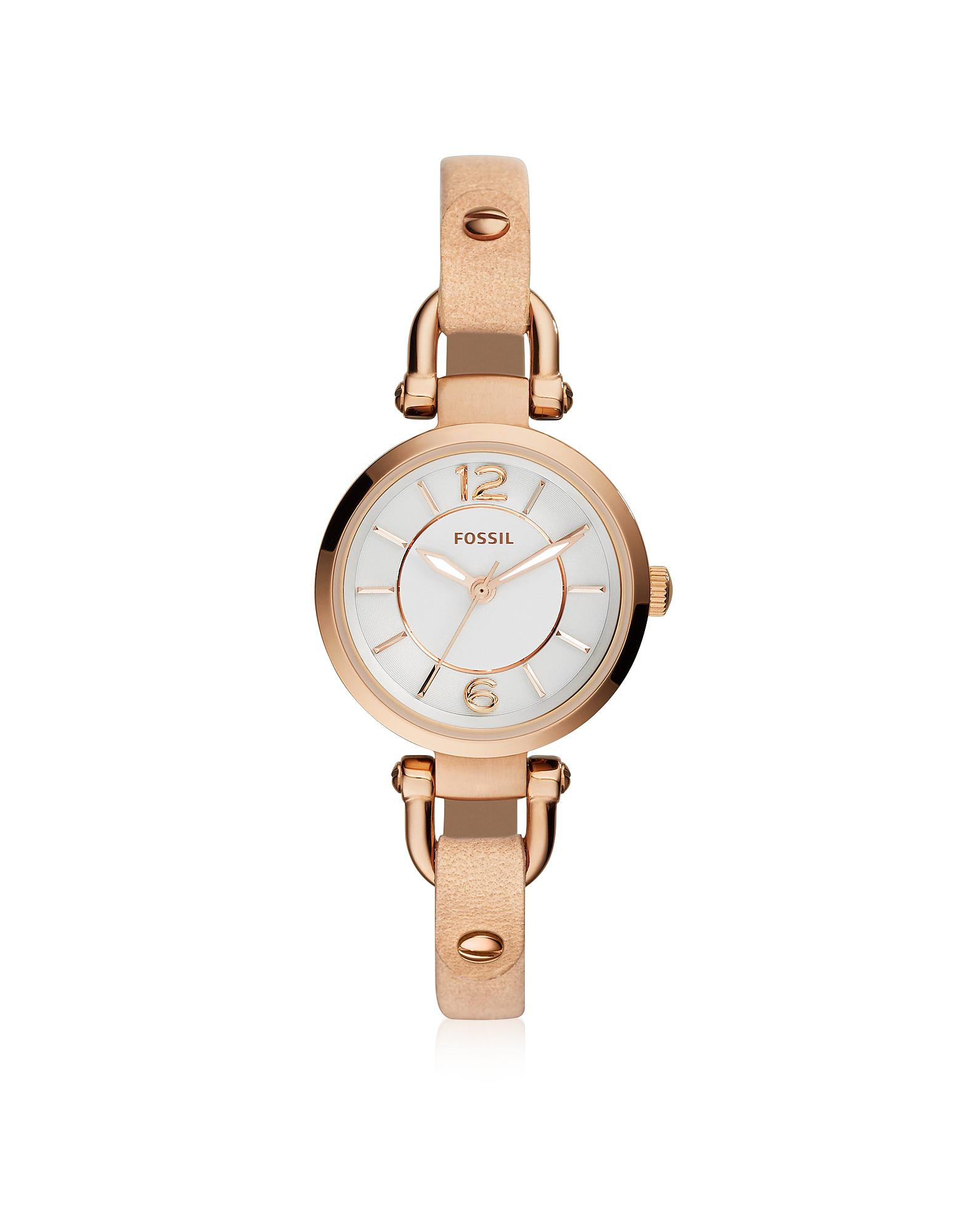 7bdc97c35 Fossil Georgia Mini Rose Gold Tone Stainless Steel Case And Nude ...