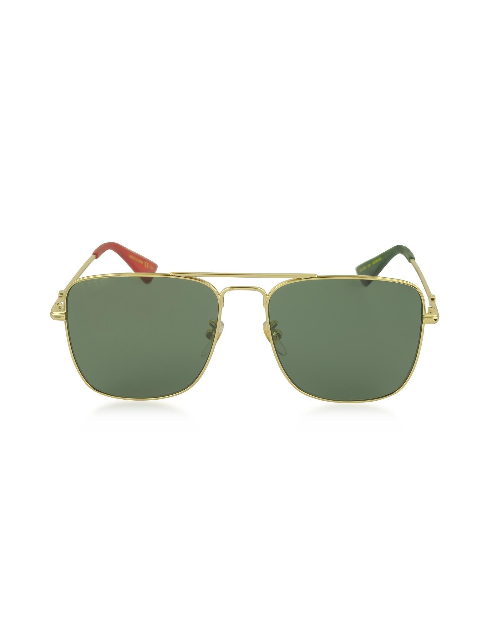 75538f93676 Gucci GG0108S Gold Metal Square Aviator Men s Sunglasses in Green ...