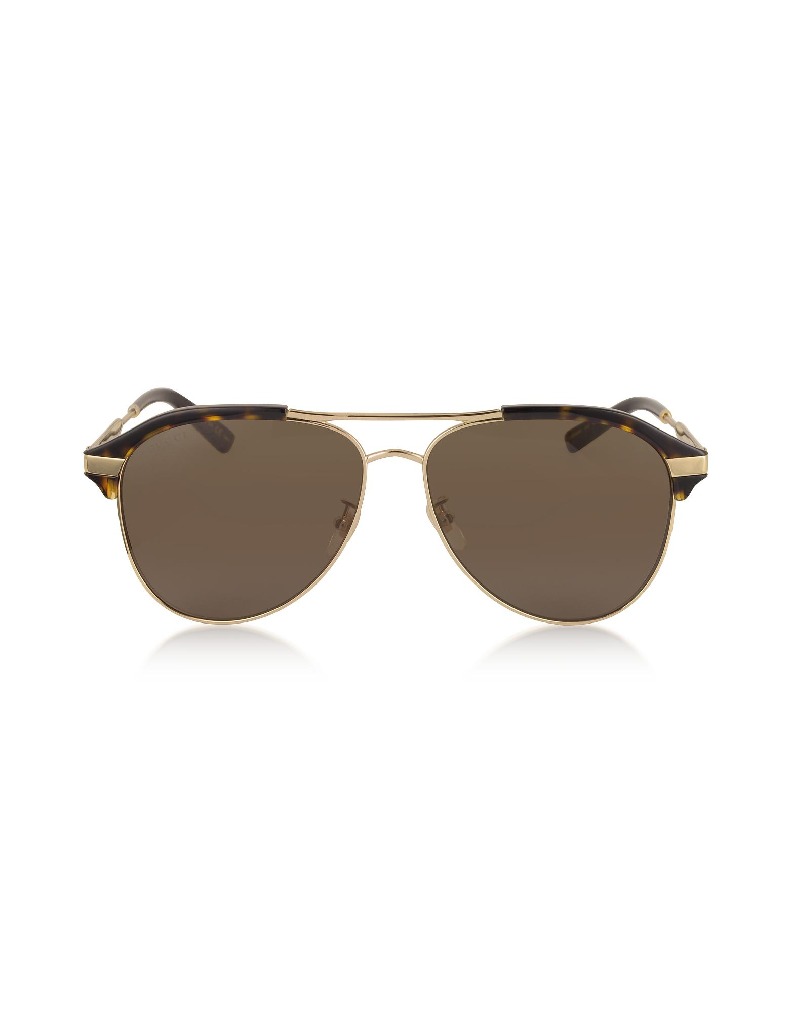 3740cb63a24ba Lyst - Gucci Specialized Fit Aviator Metal Sunglasses in Brown for Men