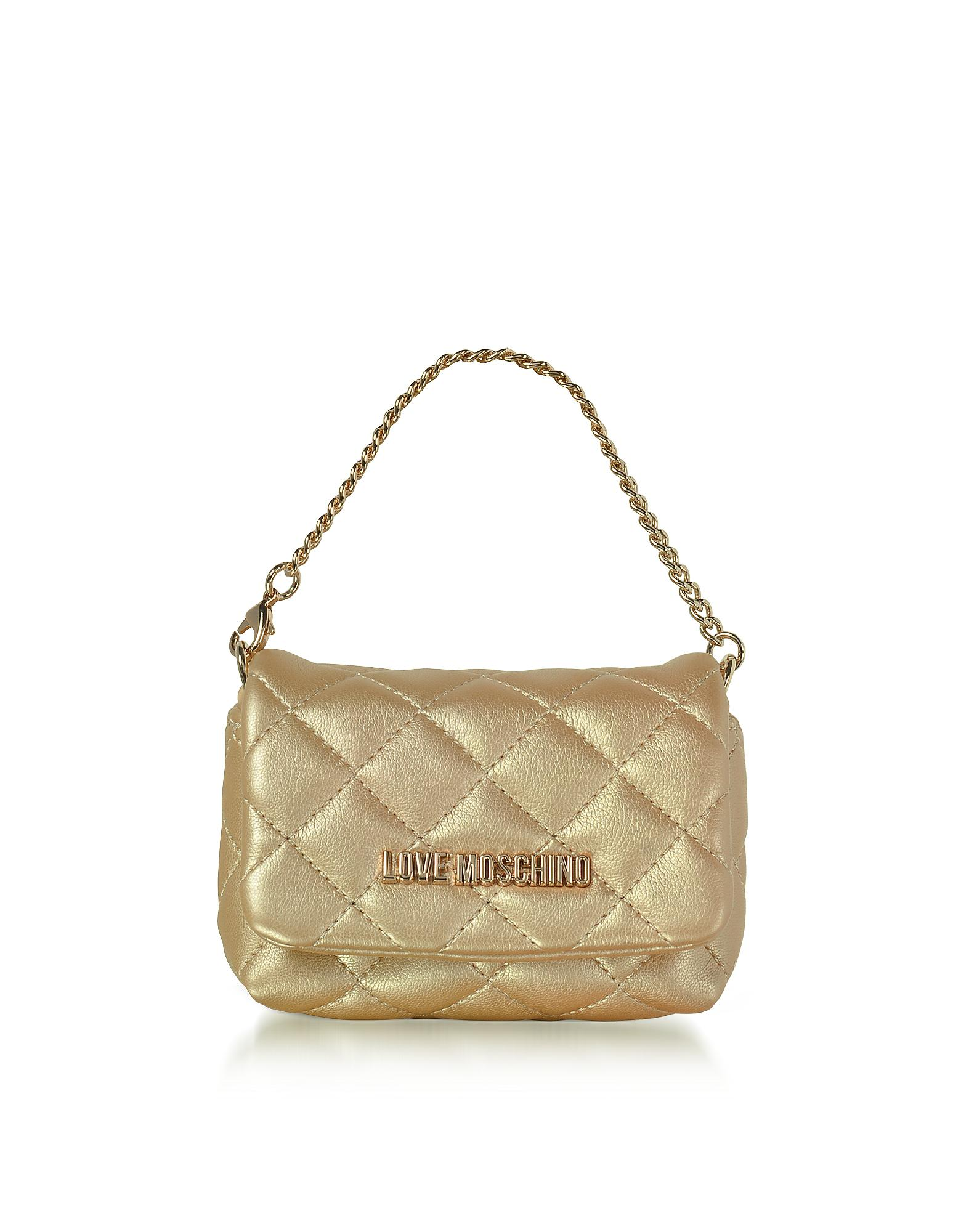 22f6215aba Love Moschino Mini Bag Gold Eco-leather Clutch in Metallic - Lyst
