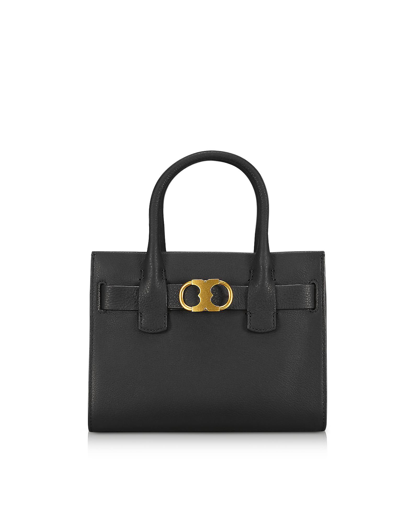 0b8c8ff17 Tory Burch Gemini Link Black Leather Small Tote Bag in Black - Lyst