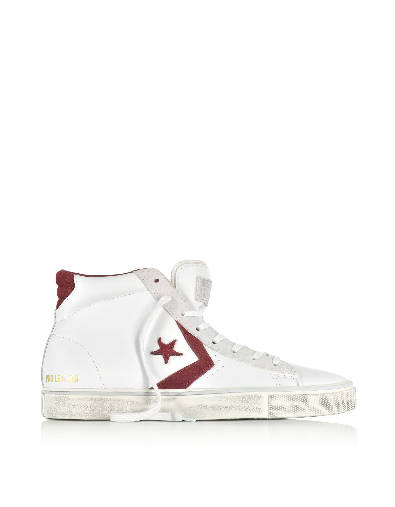 Converse Pro Leather Vulc Mid Distressed White Leather And