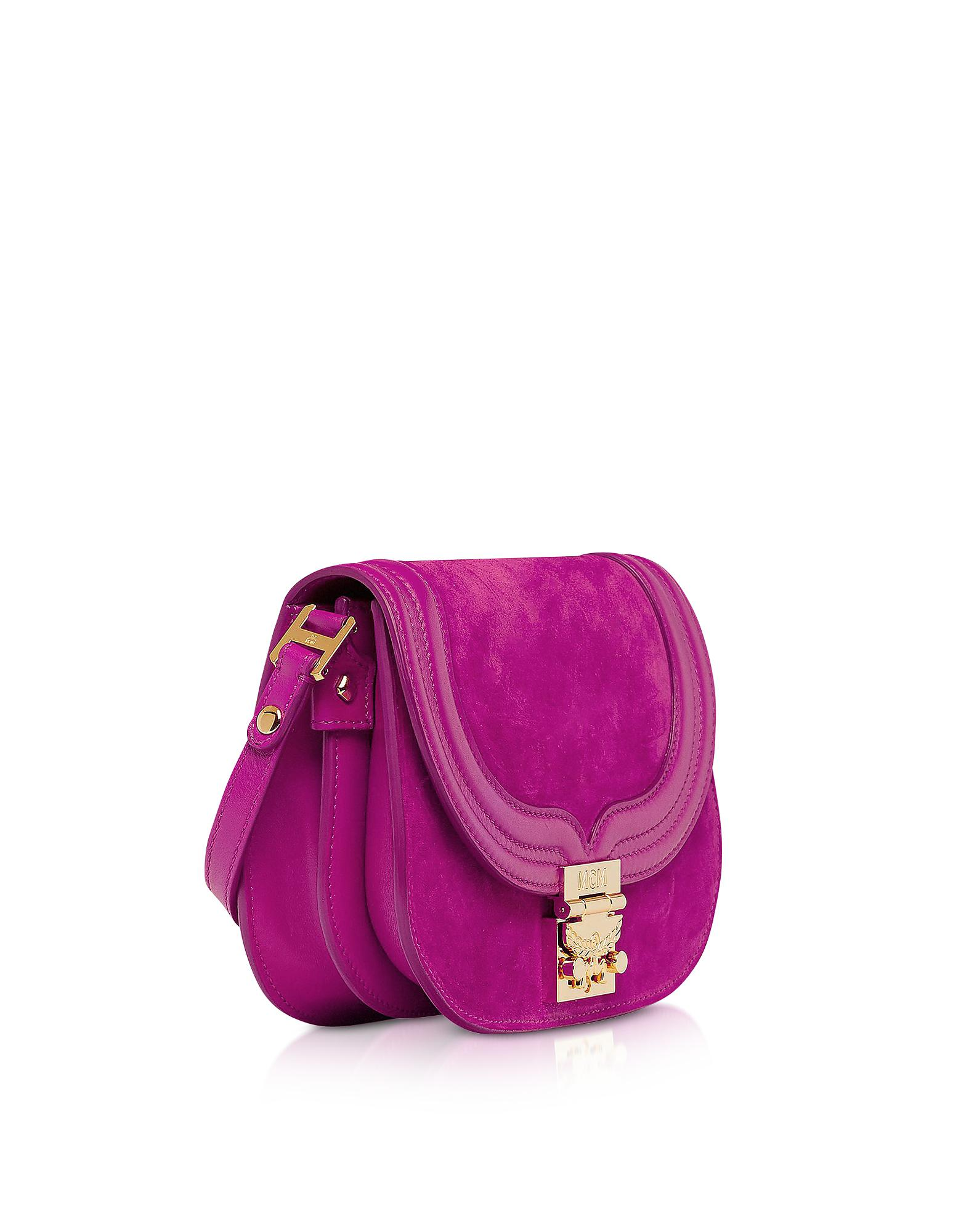 0dc40462a69 MCM Trisha Viva Lilac Suede And Leather Small Shoulder Bag in Purple - Lyst