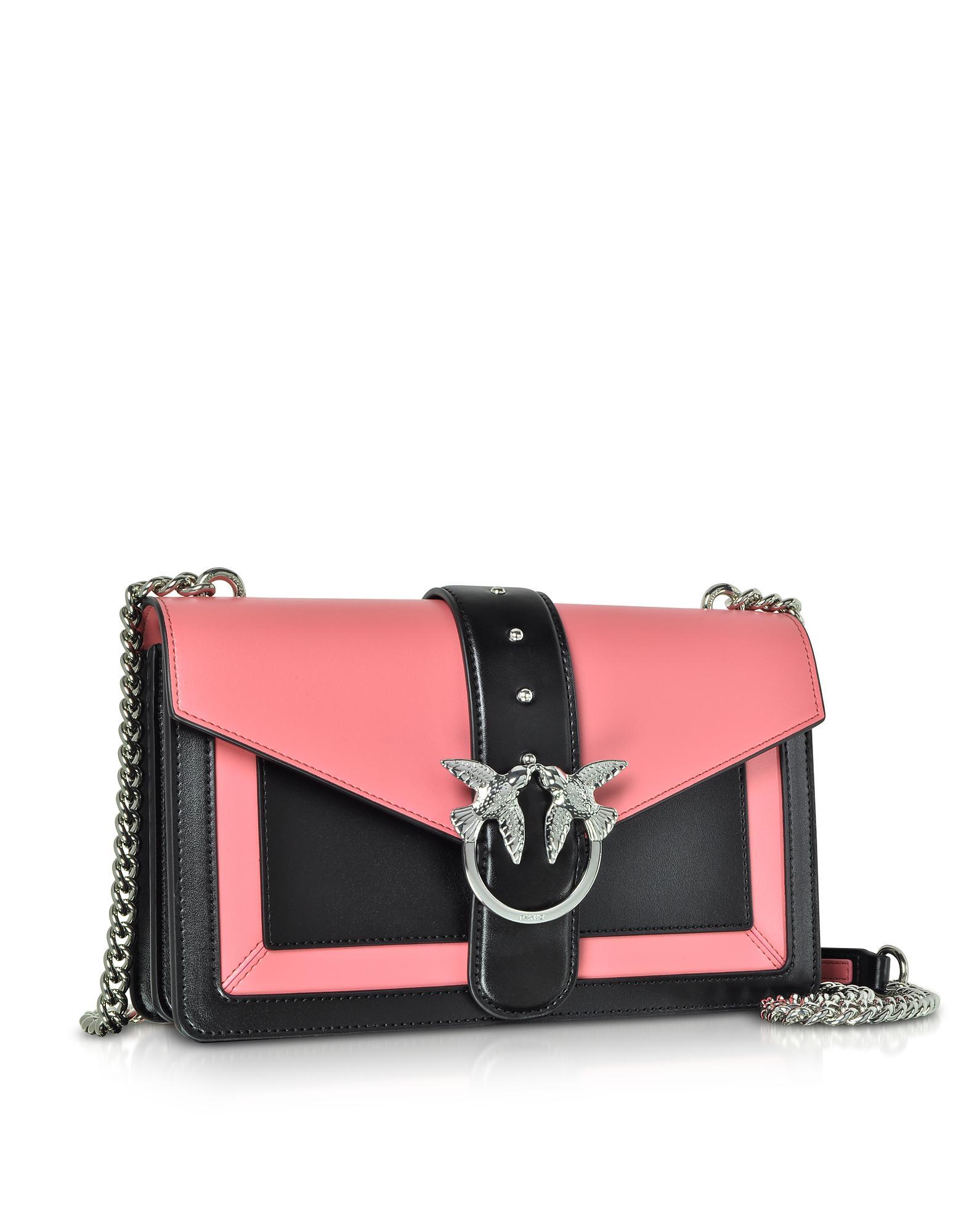 Pinko Color Block Leather New Evolution Shoulder Bag in Black - Lyst 1776fd8819987