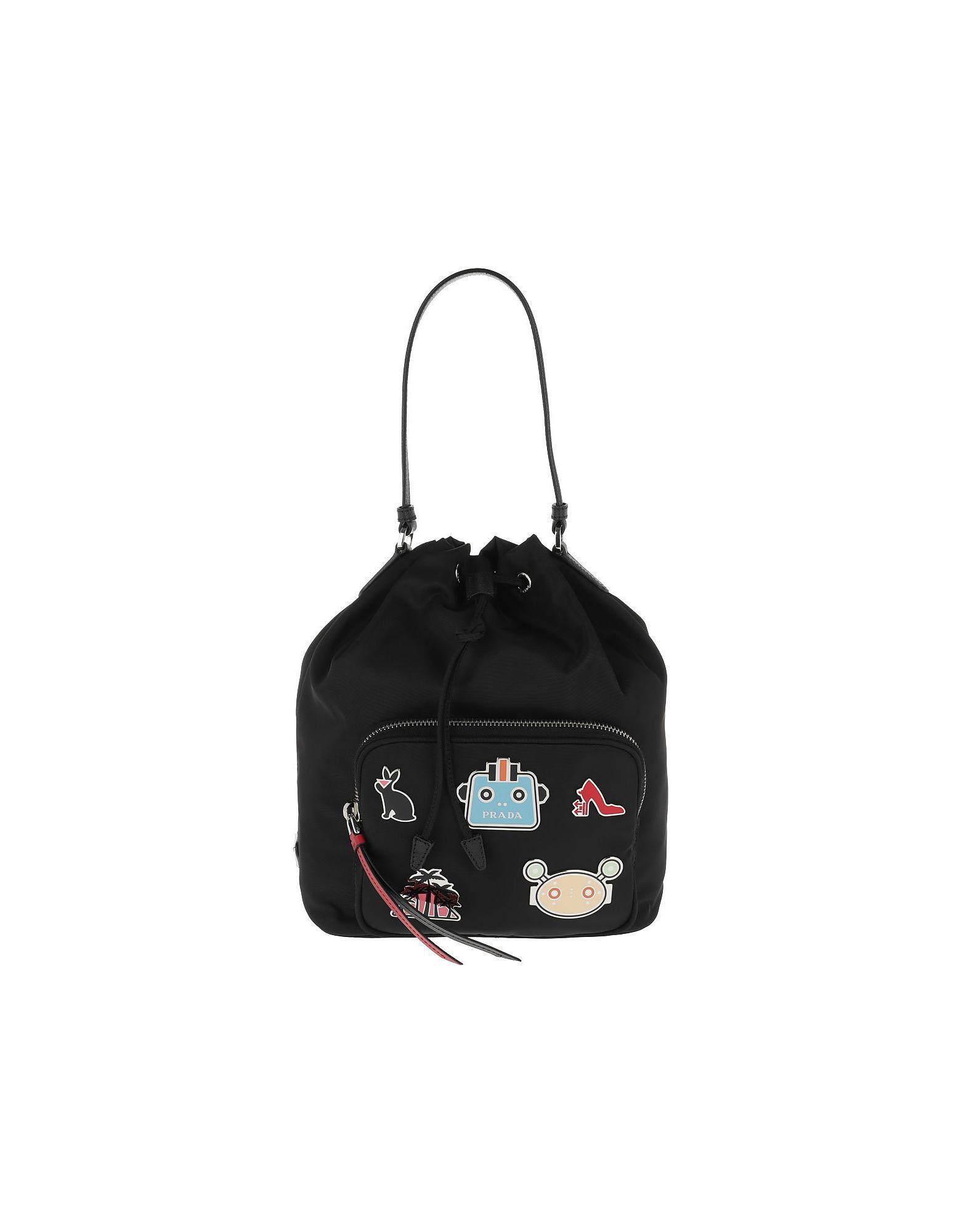 53efd250620603 Prada Nylon Bucket Bag Robot Nero in Black - Lyst