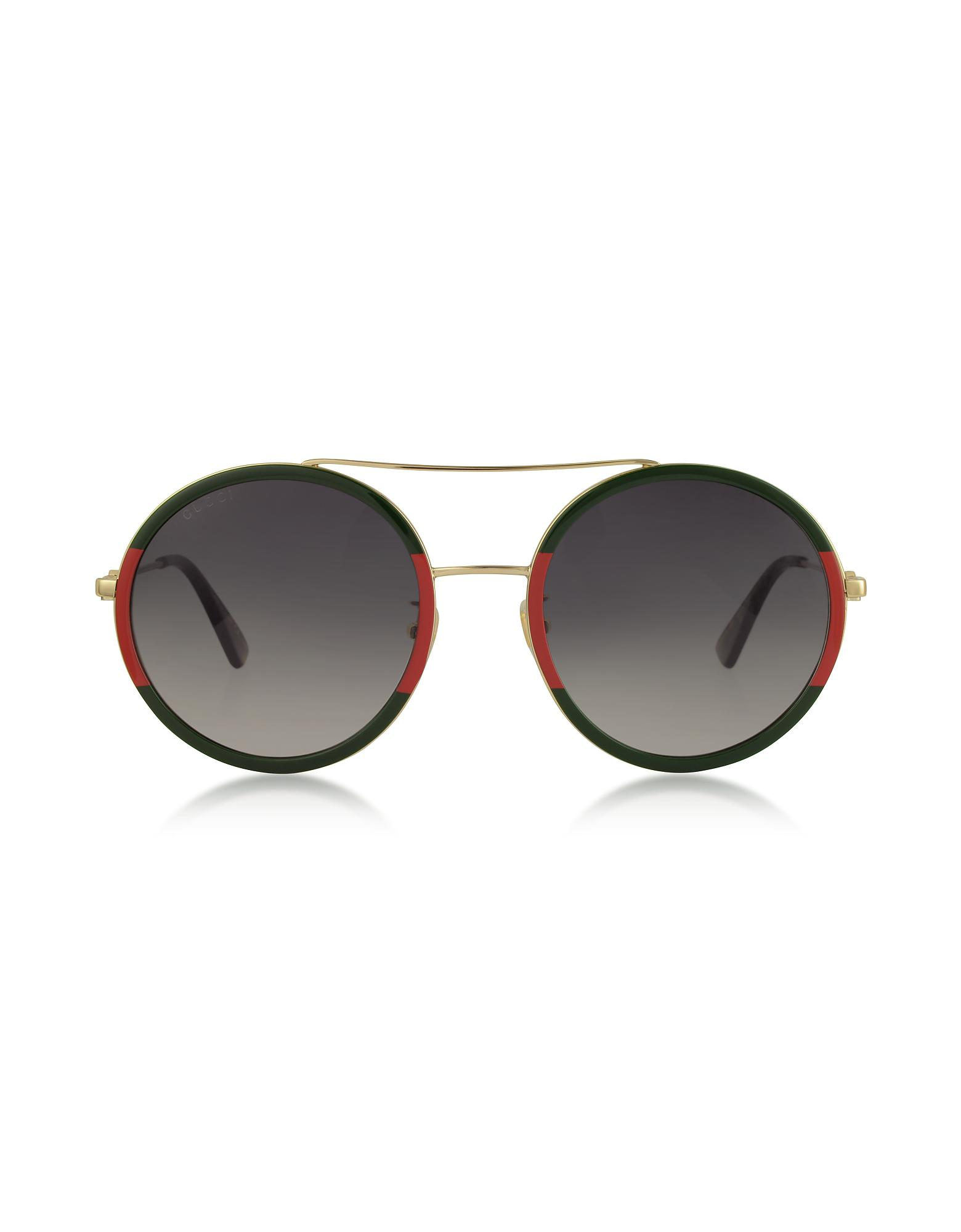 c69a3bbd999 Lyst - Gucci Round-frame Metal Sunglasses in Metallic