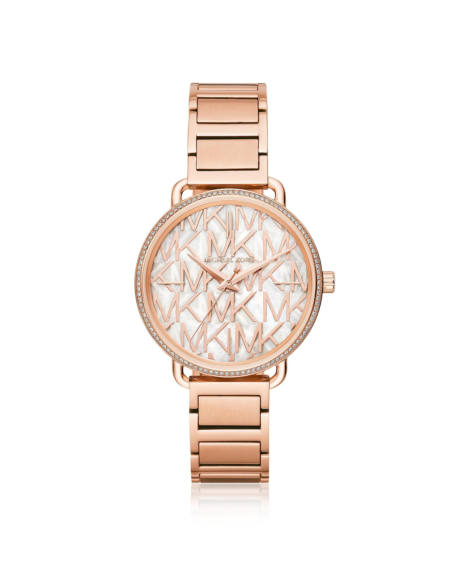 bf8fb1ea85dc Lyst - Michael Kors Portia Pavé Rose Gold Tone Women s Watch in Pink