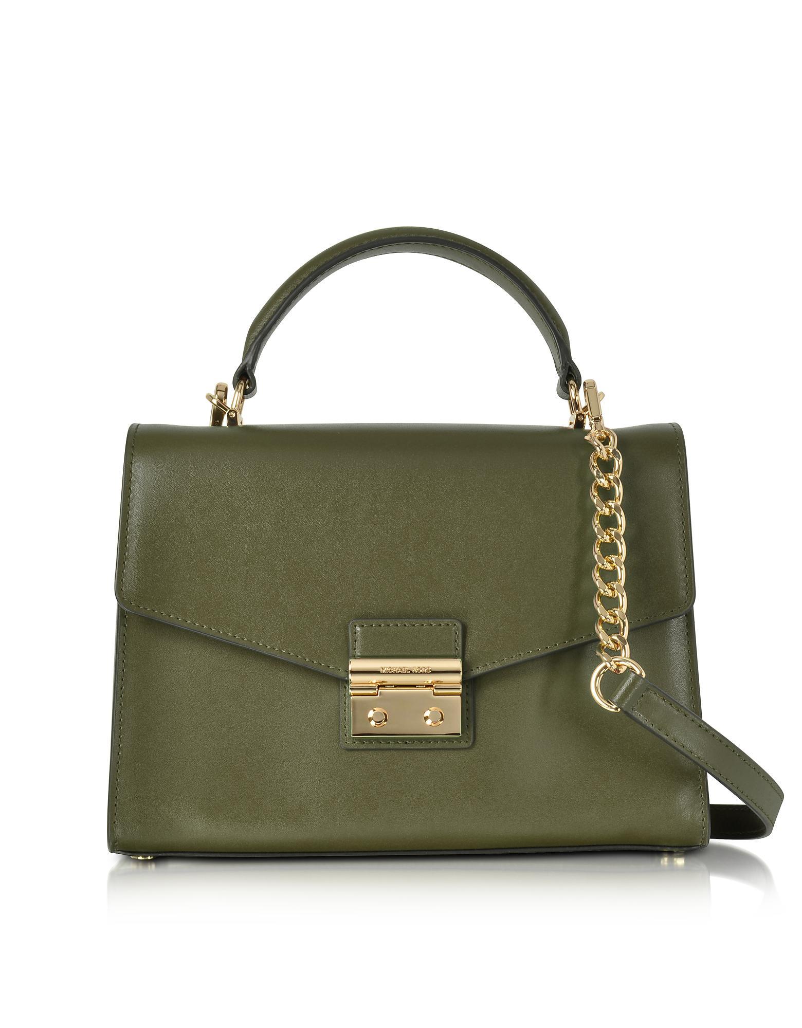 63d040ce1425 Lyst - Michael Kors Sloan Medium Olive Leather Satchel Bag in Green