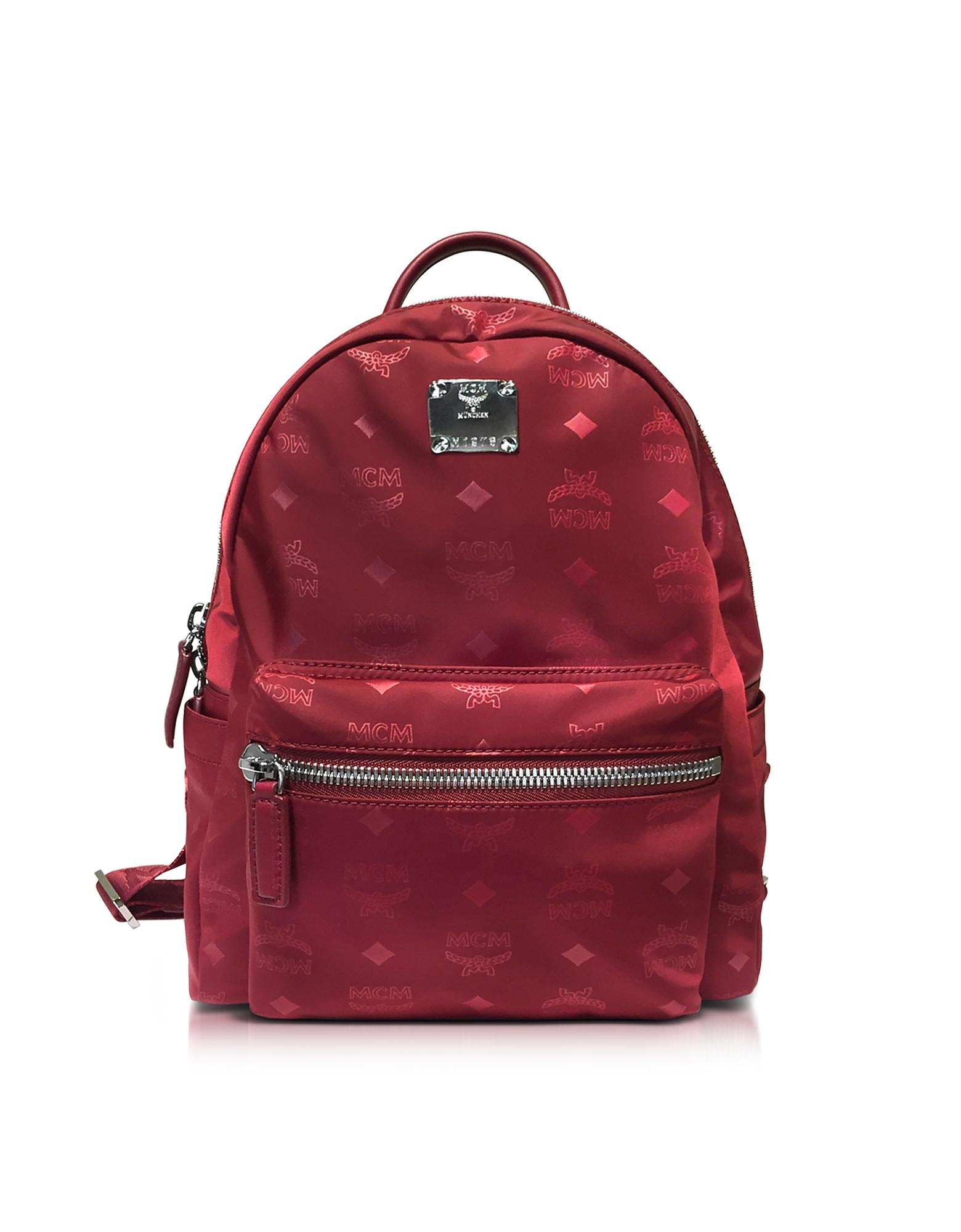 mcm dieter monogrammed nylon small backpack in red